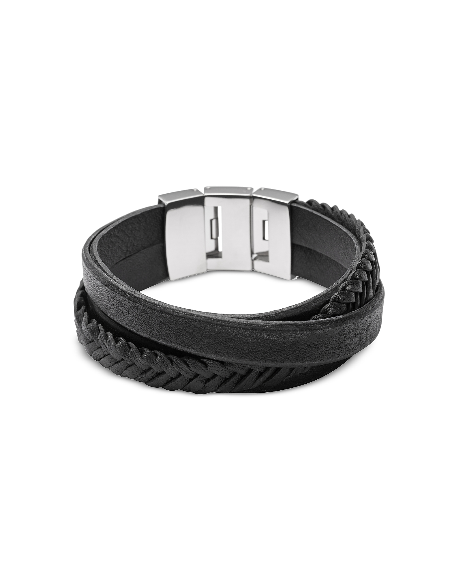 Black Braided and Smooth Leather Men's Wrap Bracelet