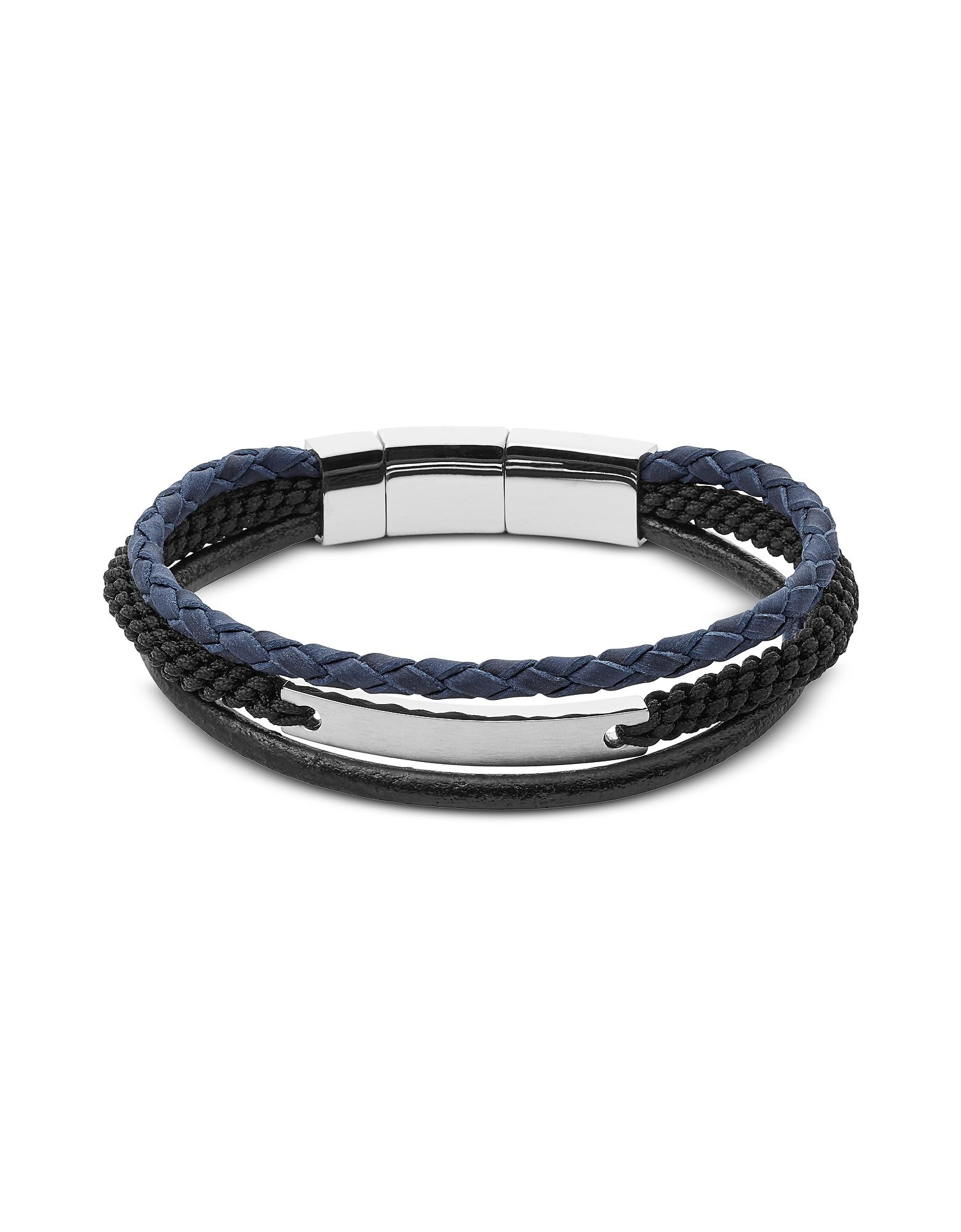 Blue and Black Vintage Casual Multi Strand Men's Bracelet