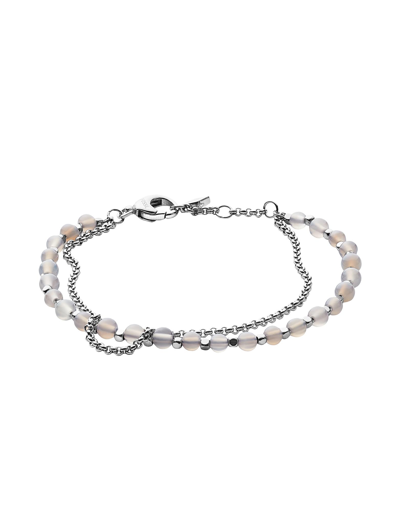 Silver Semi-Precious Double-Chain Women's Bracelet