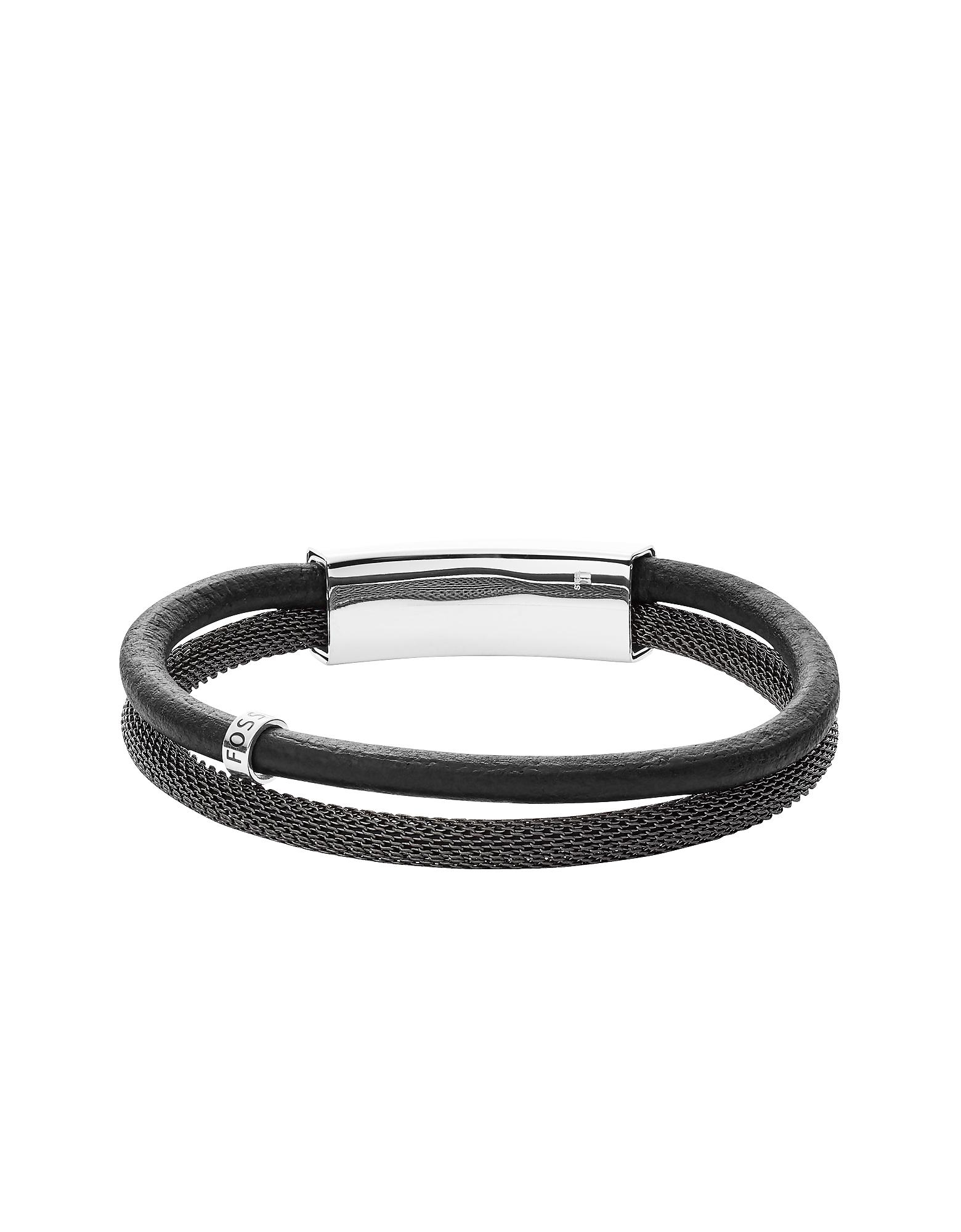 Men's Vintage Casual Gray Leather Double Bracelet