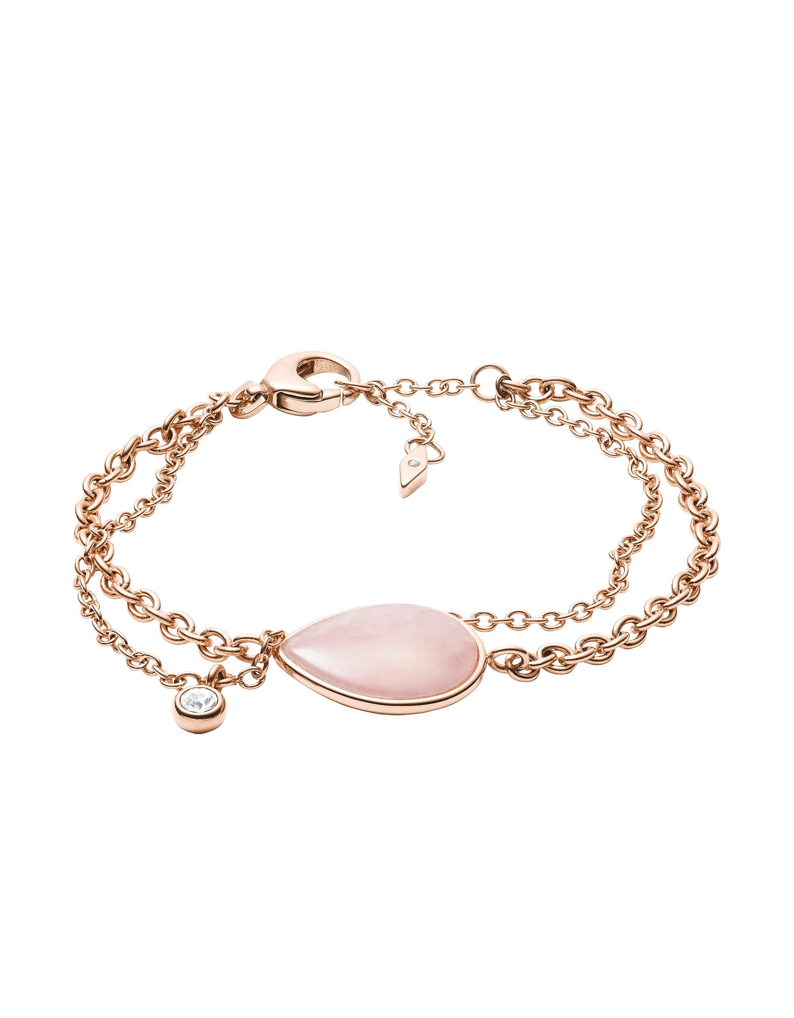 Fossil Bracelets, Women's Teardrop Pink Semi-Precious Bracelet