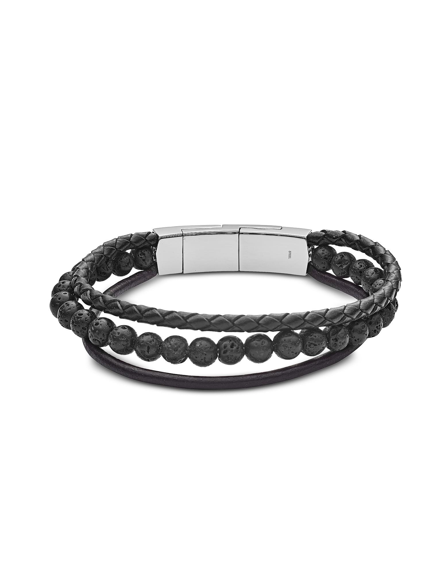 Fossil Men's Bracelets, Vintage Casual Multi-Strand Leather and Lava Beads Men's Bracelet