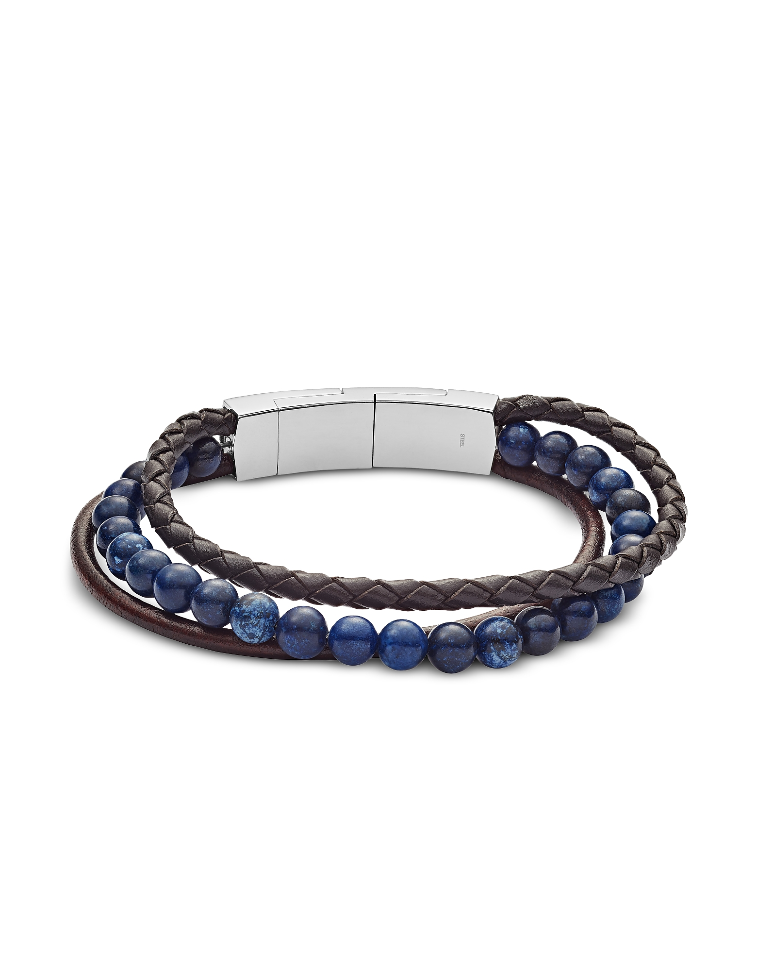 Men's Vintage Casual Multi-Strand Leather and Blue Sodalite Bead Bracelet