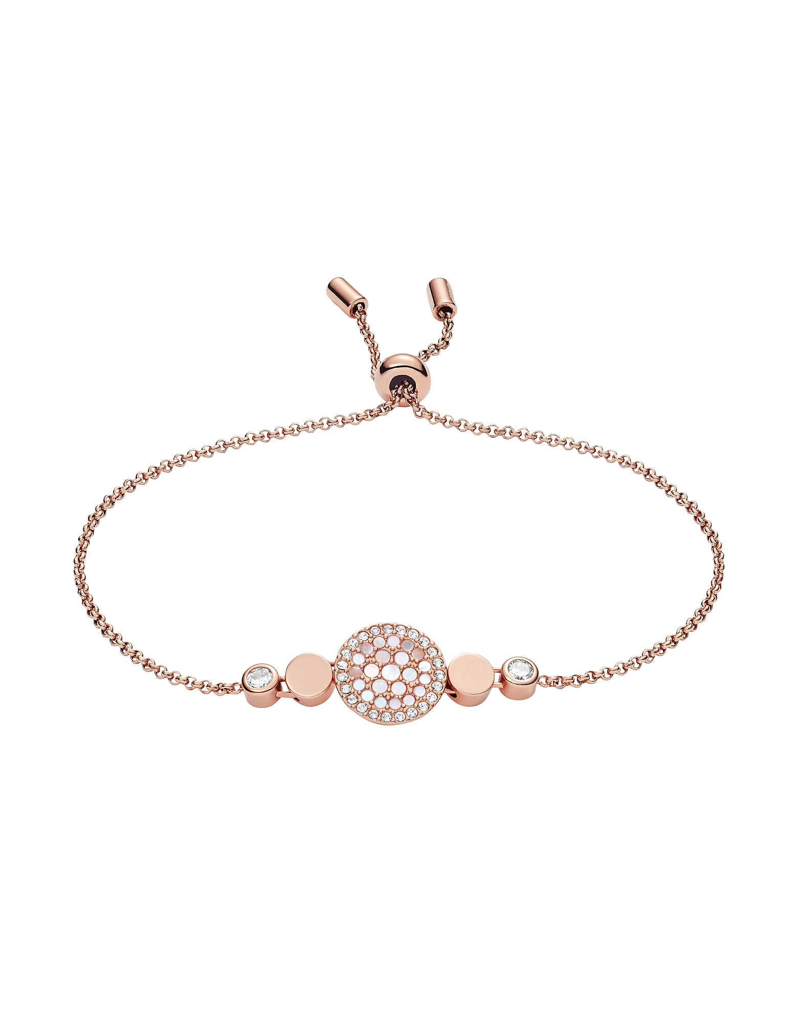 Women's Disc Mother of Pearl Bracelet, Rose gold