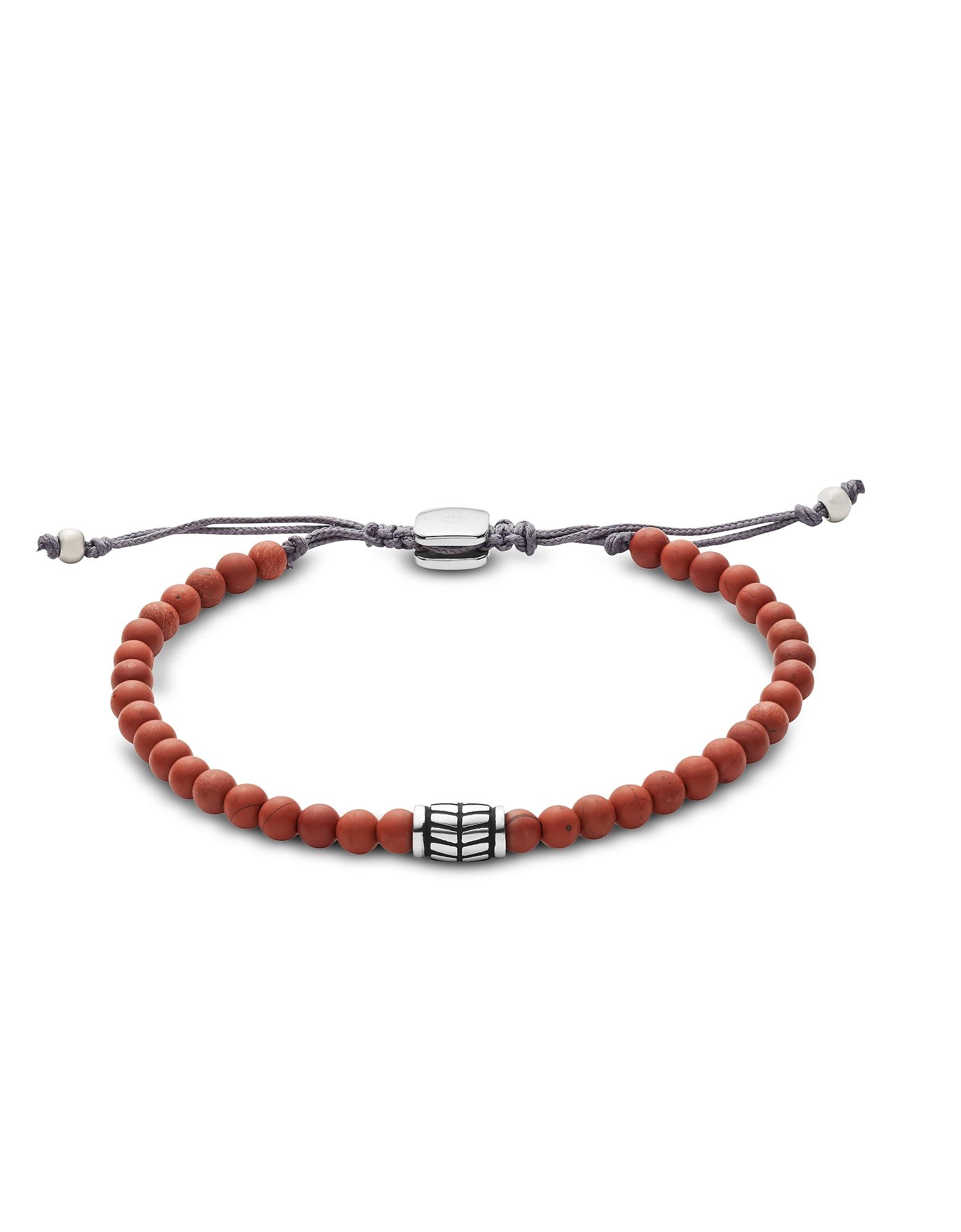 Fossil Men's Bracelets, Men's Red Semi-Precious Bracelet