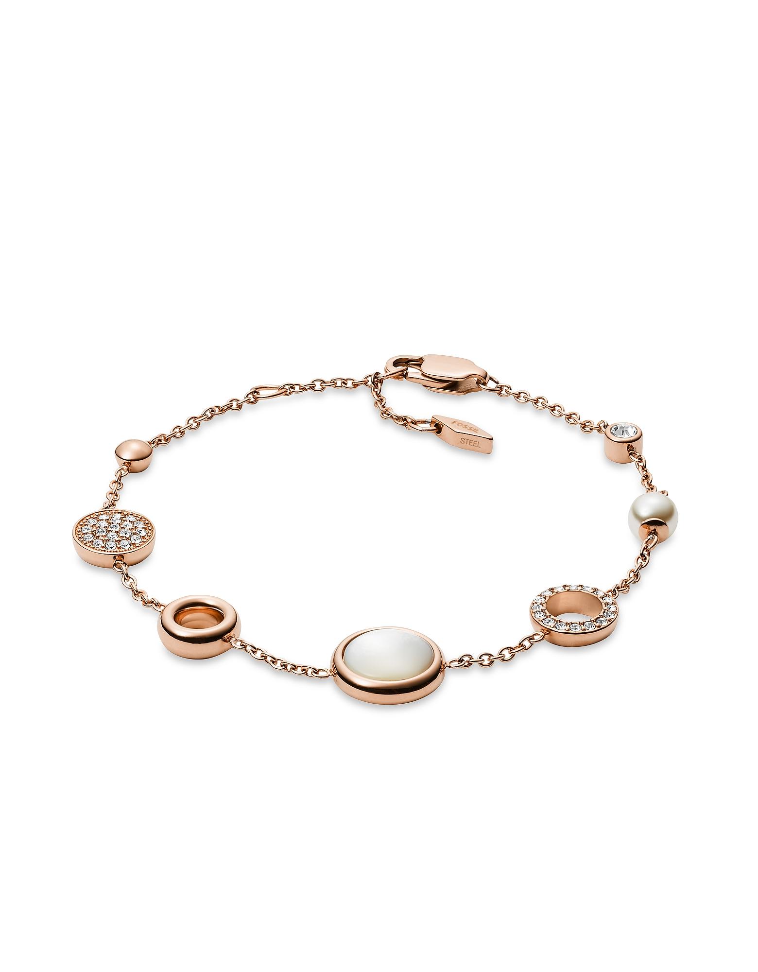 White Glitz Women's Bracelet, Rose gold