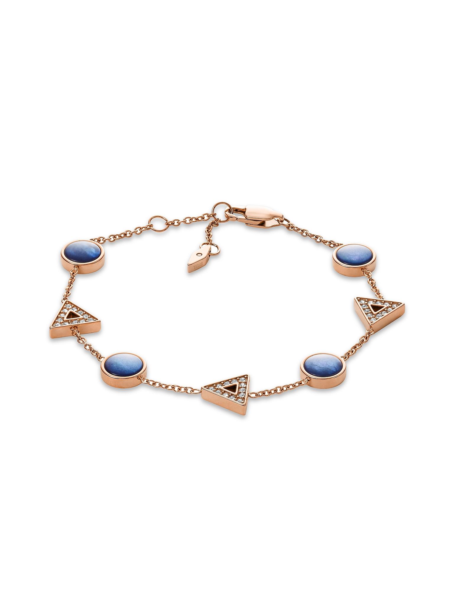 Geometric Blue Rose Gold Tone Bracelet