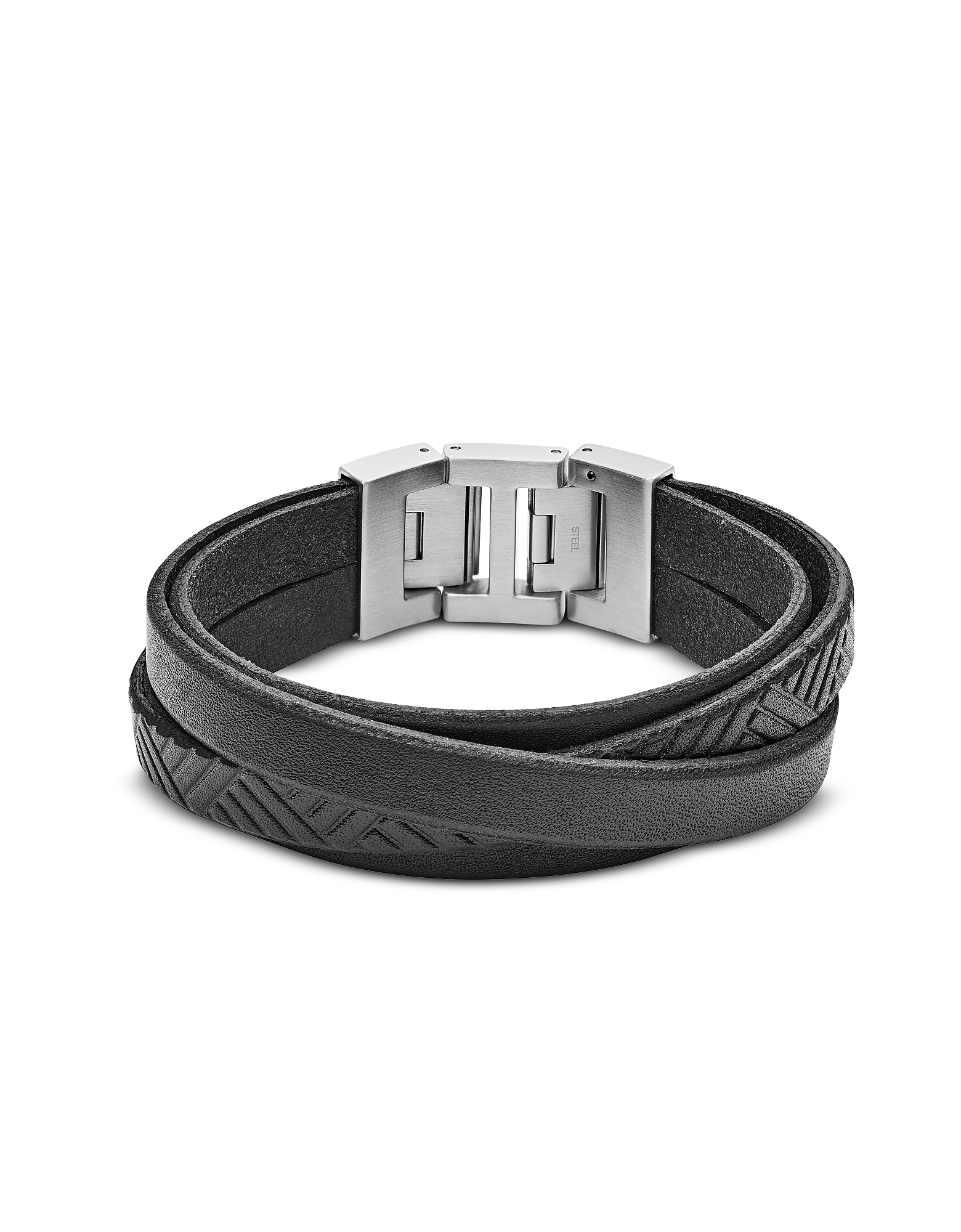 Black Textured Wrap Men's Bracelet