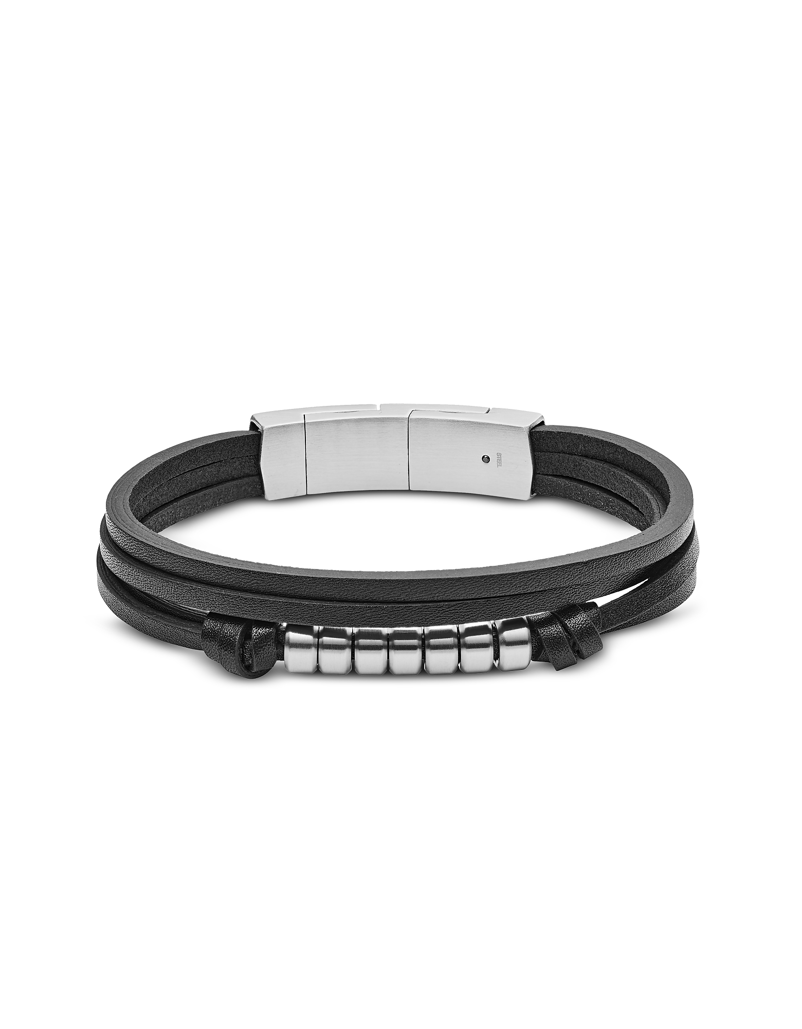 Multi Strand Black Leather Men's Bracelet