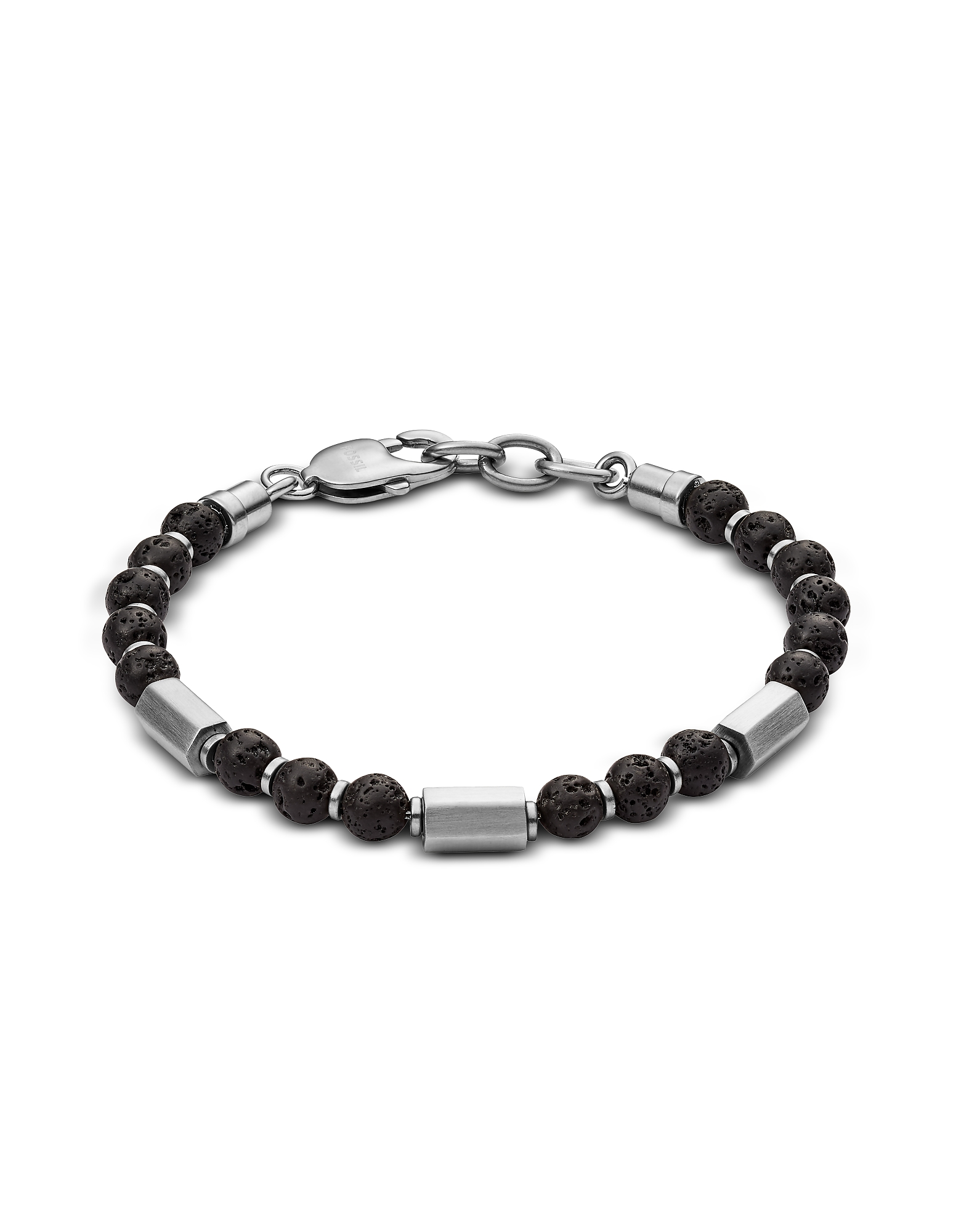Lava Stone Men's Bracelet, Silver