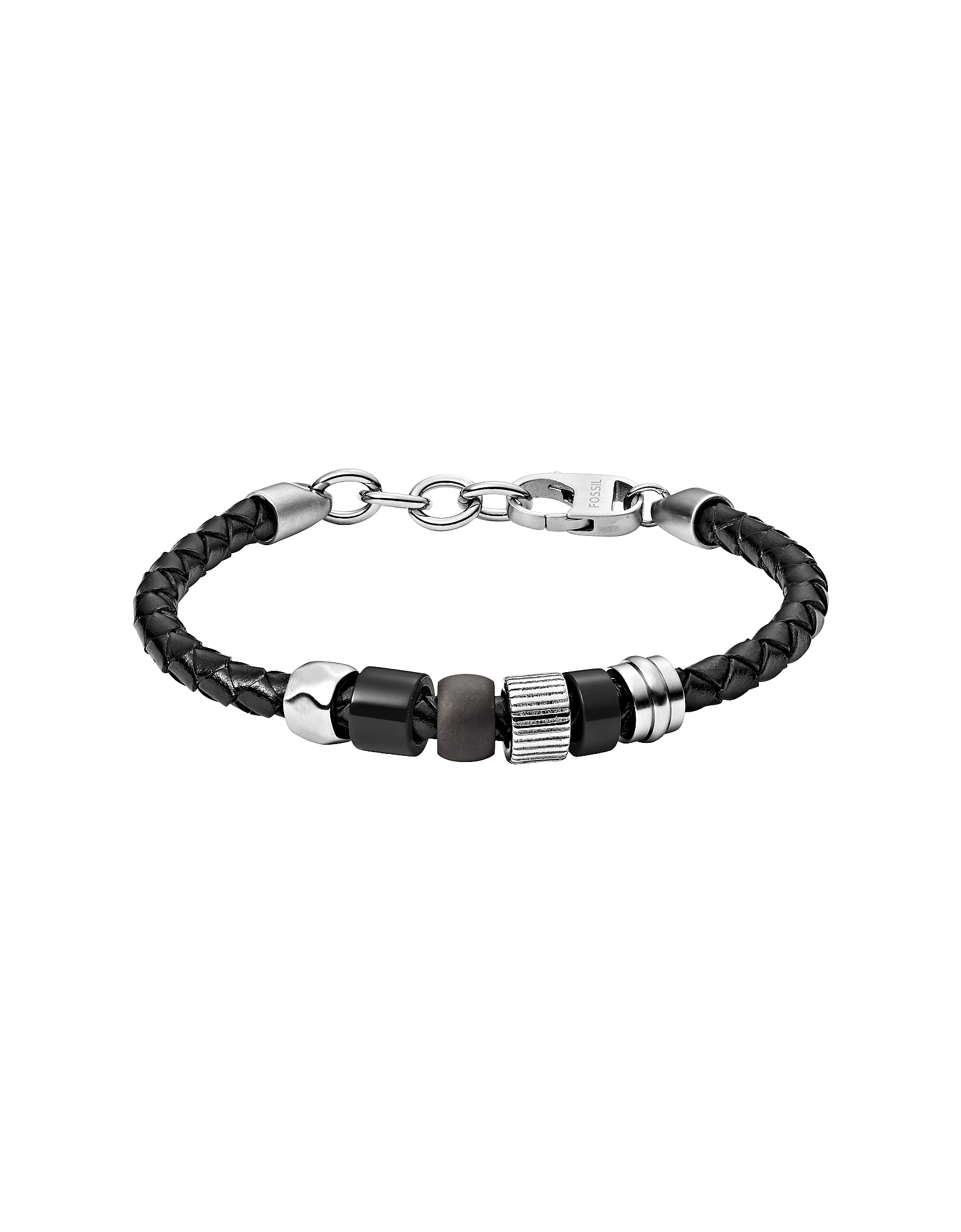 Fossil  Men's Bracelets Woven Black Agate Men's Bracelet