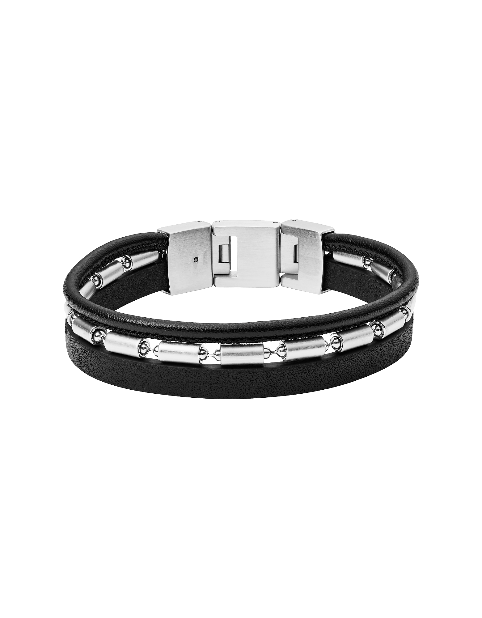 Fossil Designer Men's Bracelets, Triple Leather Bike Bracelet
