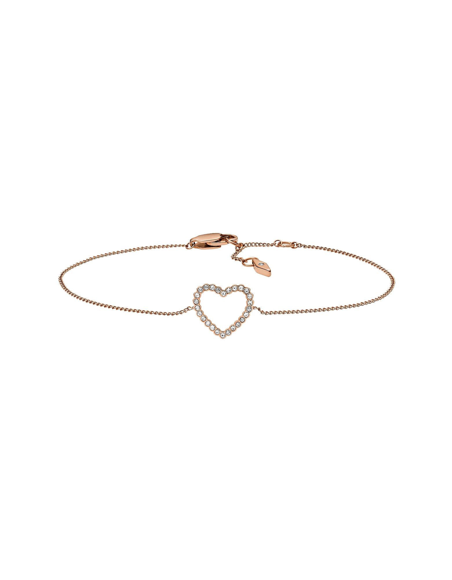 Fossil Designer Bracelets, Open Heart w/Crystals Bracelet