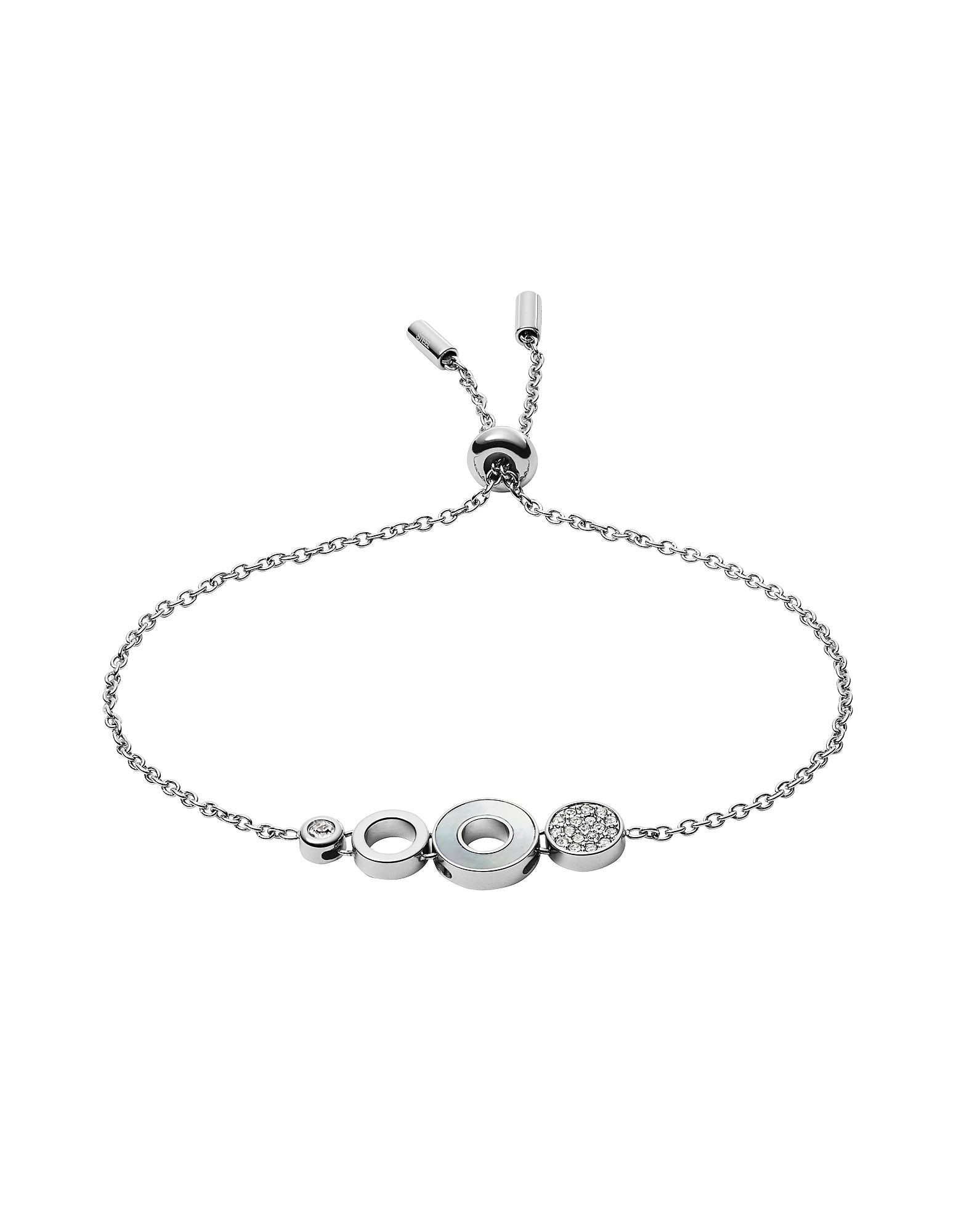 Open Disc Stainless Steel Bracelet, Silver