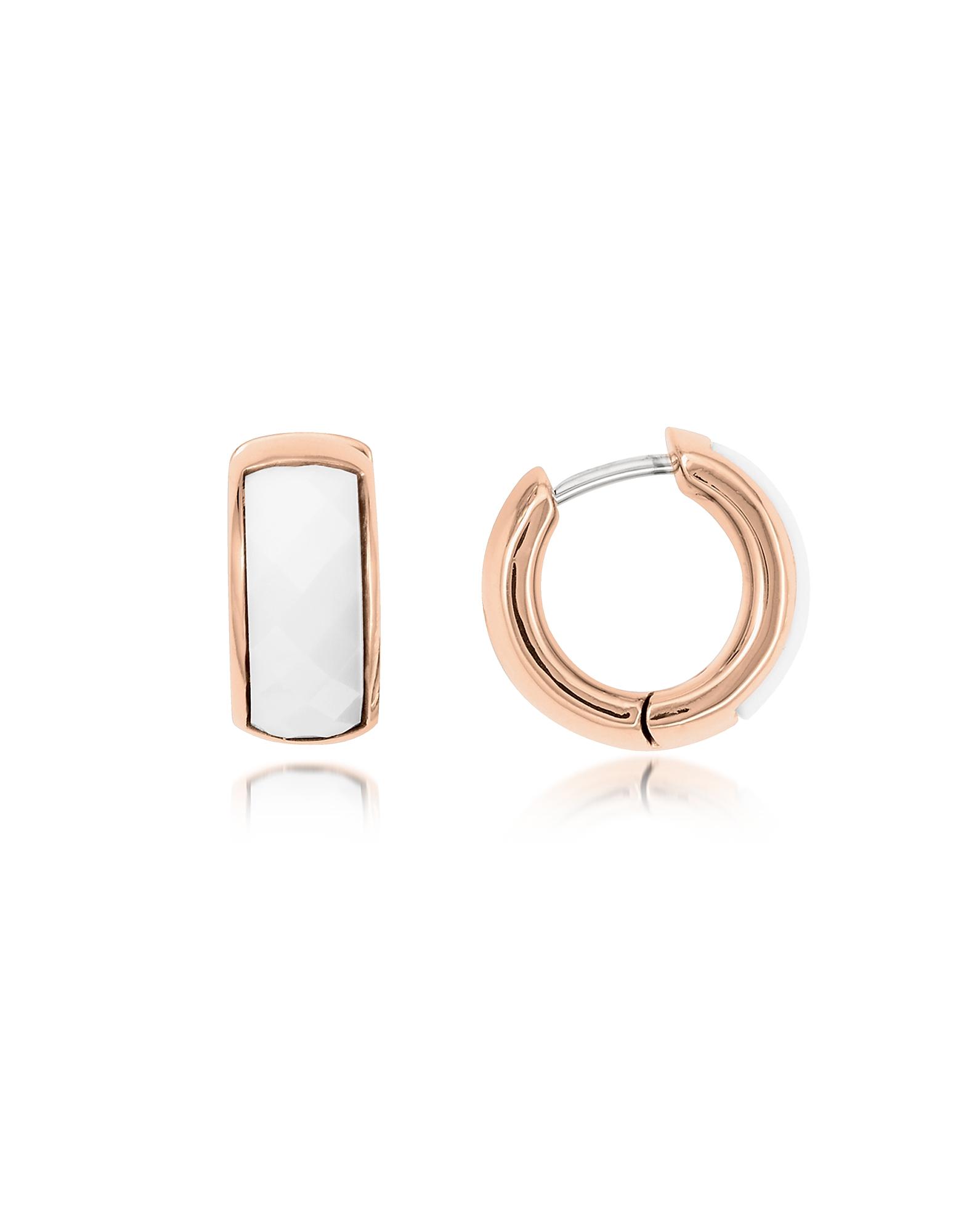 Fossil Earrings, White Huggie Hoops Rose Gold Tone Women's Earring