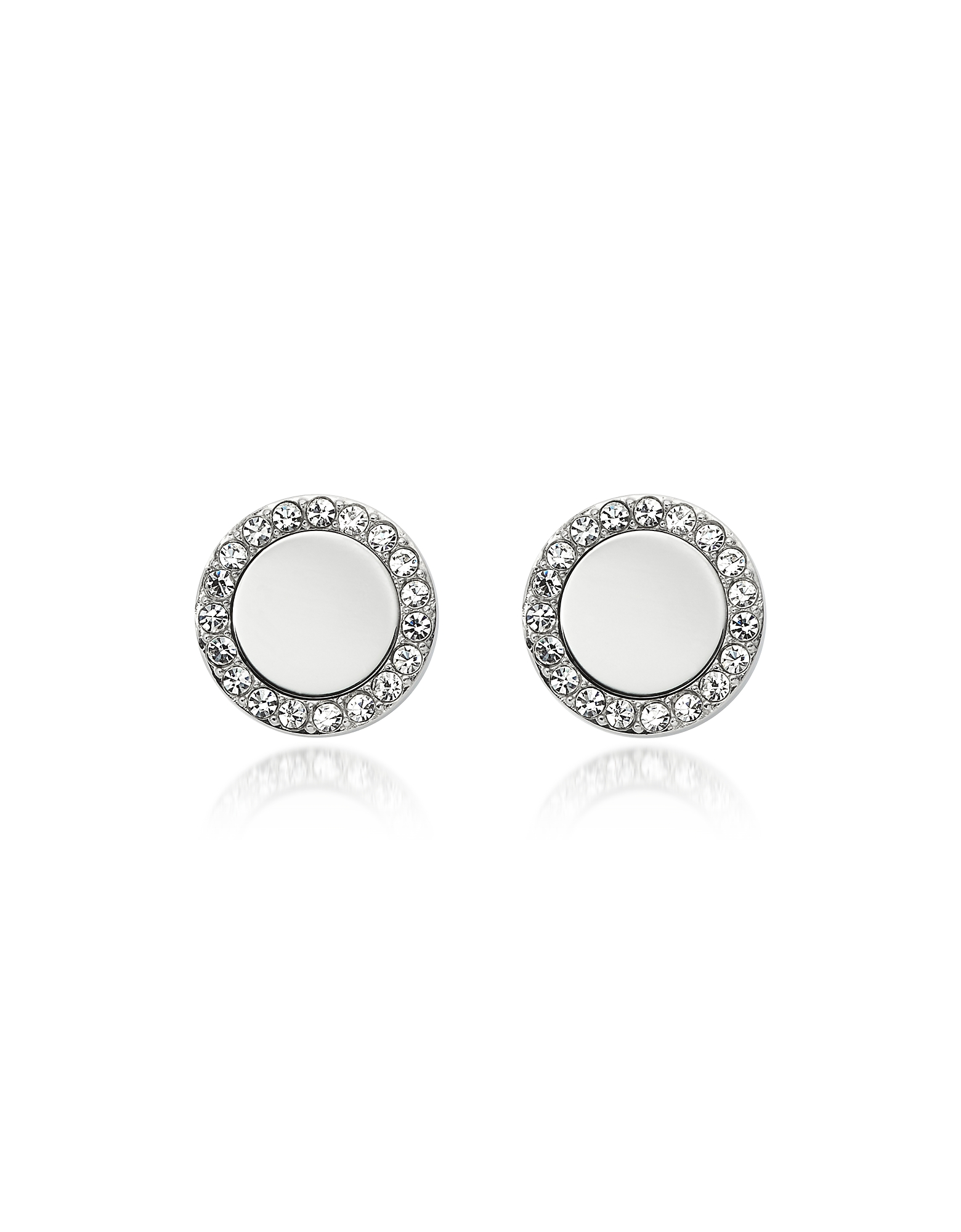 Glitz Stainless Steel Women's Stud Earrings, Silver