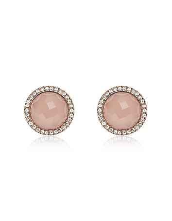 Pink Stone Rose Gold Tone Stud Women's Earrings