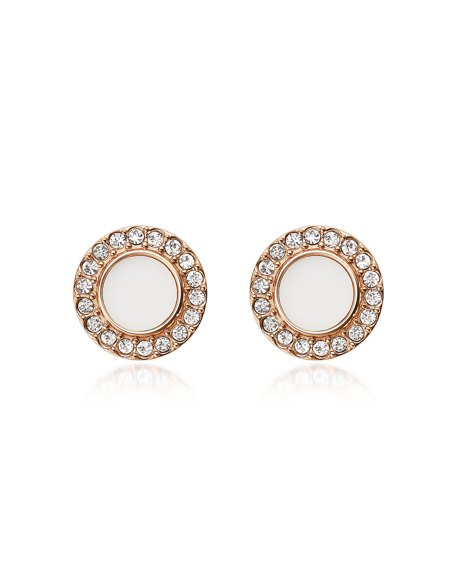 Stone Glitz Stud Earrings, Rose gold
