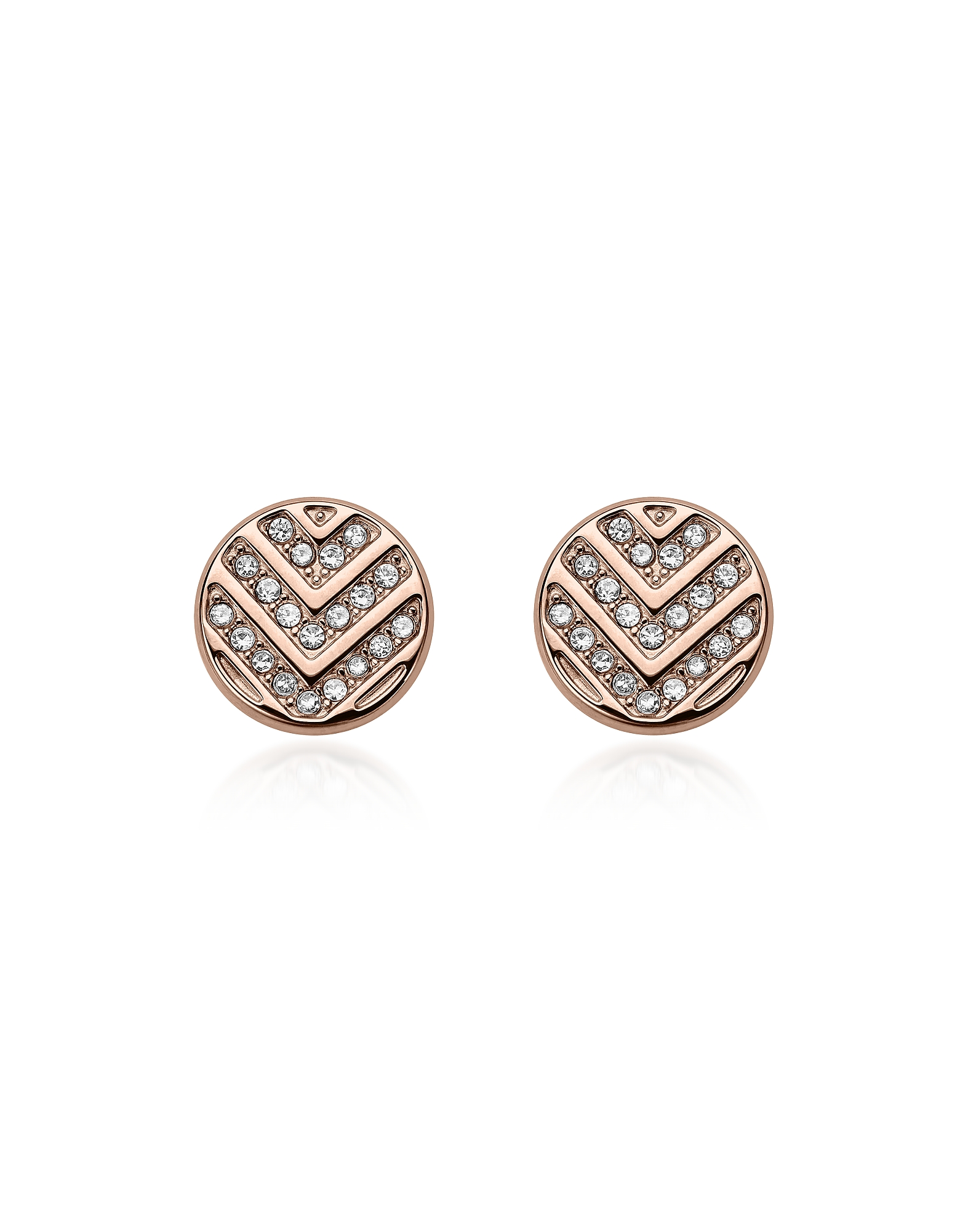 Chevron Glitz Rose Gold Tone Stud Earrings