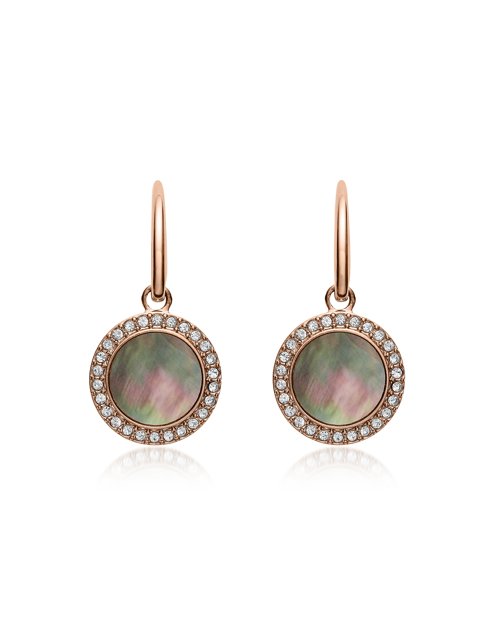 Gray Mother of Pearl Glitz Drop Earrings, Rose gold