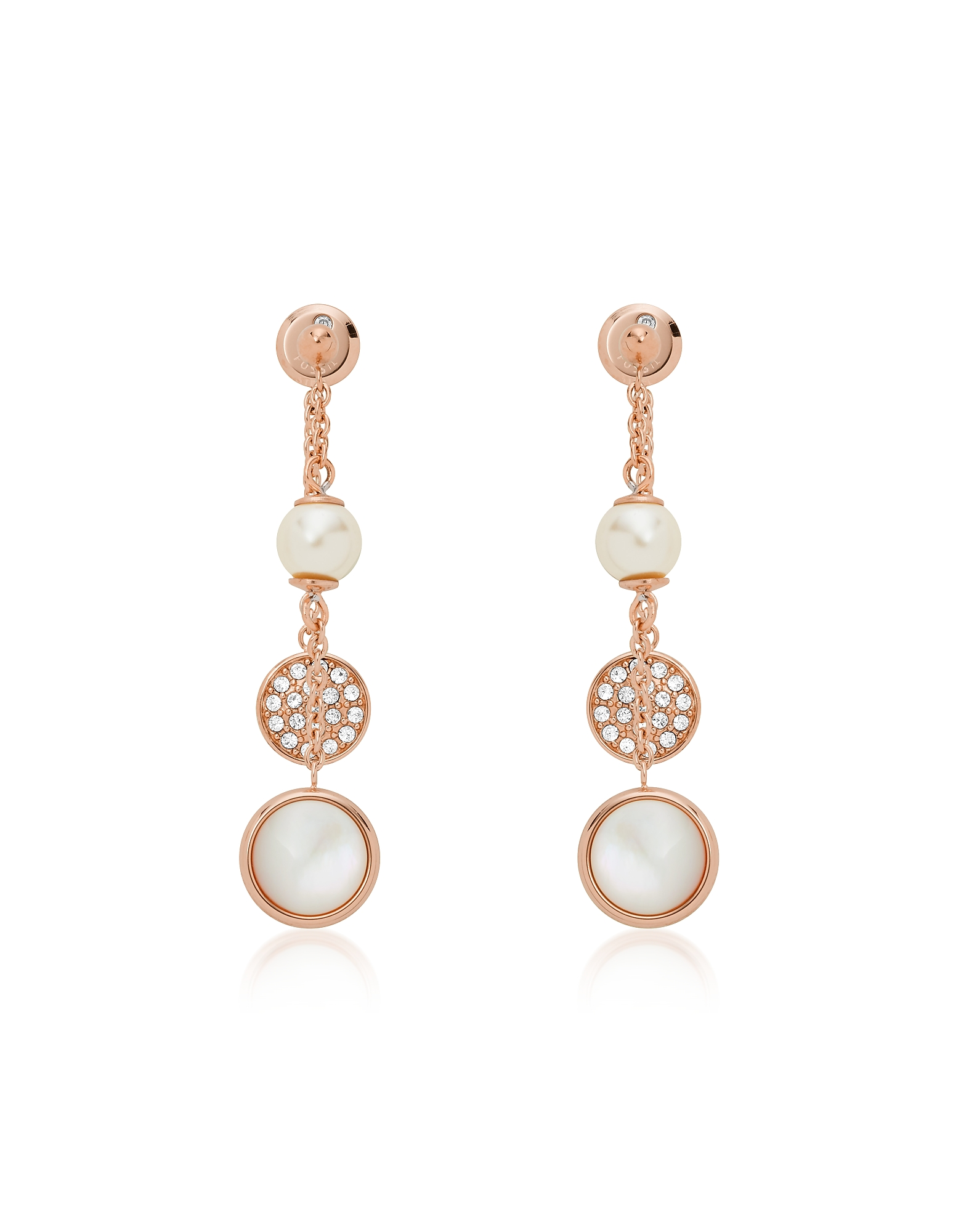 Layered Mother of Pearl Drop Earrings, Rose gold