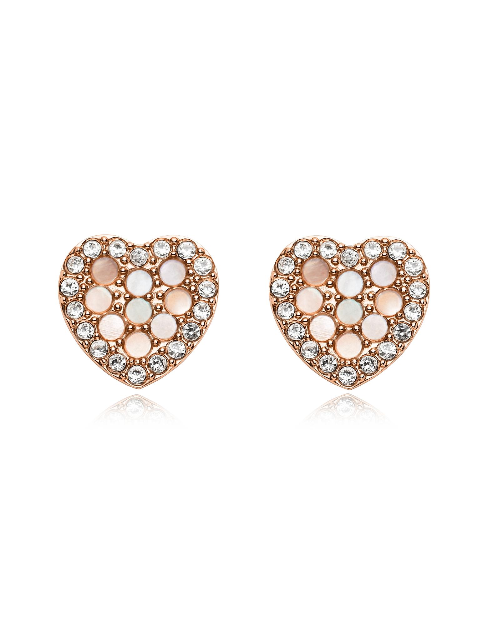 Mosaic Glitz Heart Rose Tone Earrings, Rose gold