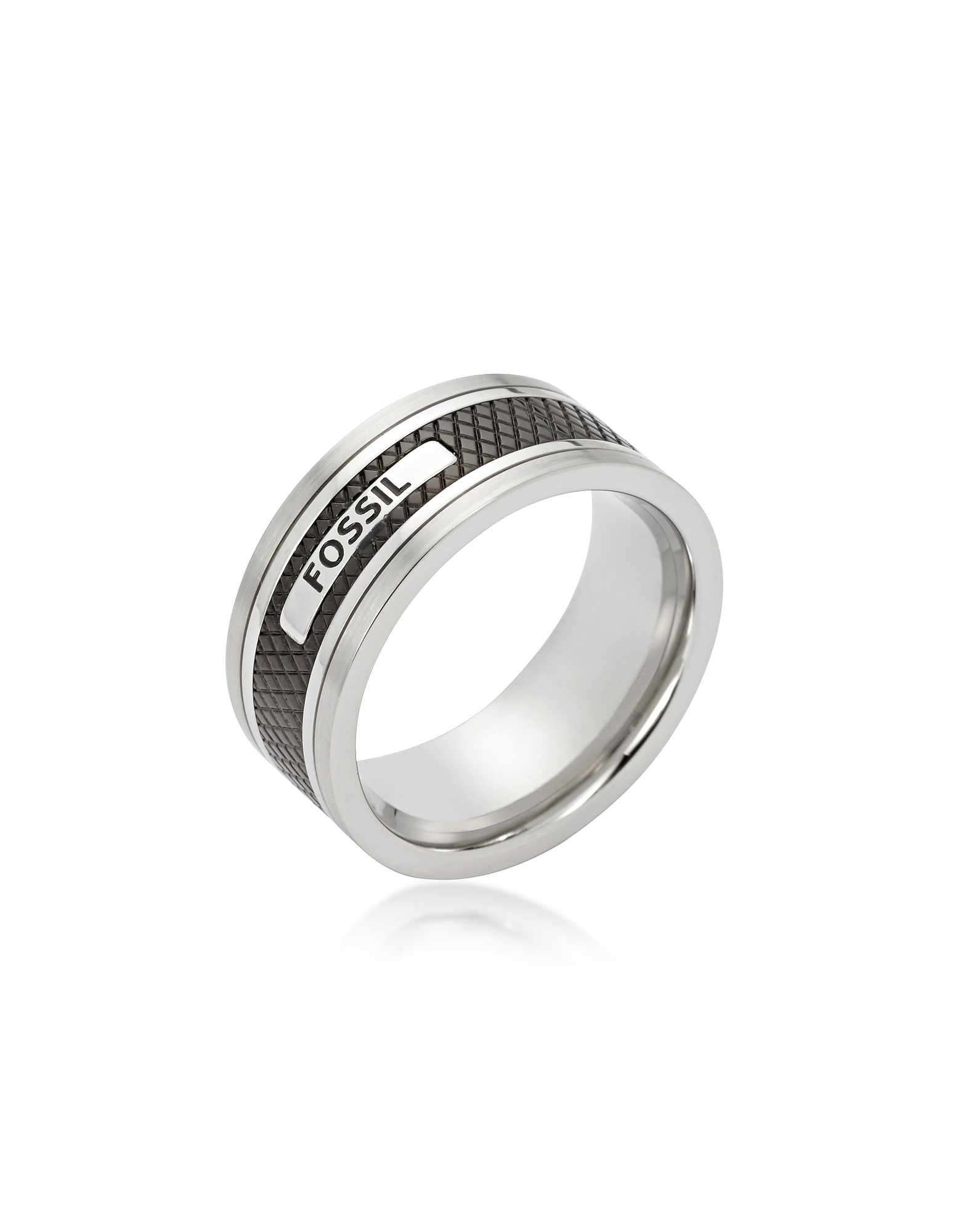 Stripe Textured Blackened Stainless Steel Men's Ring