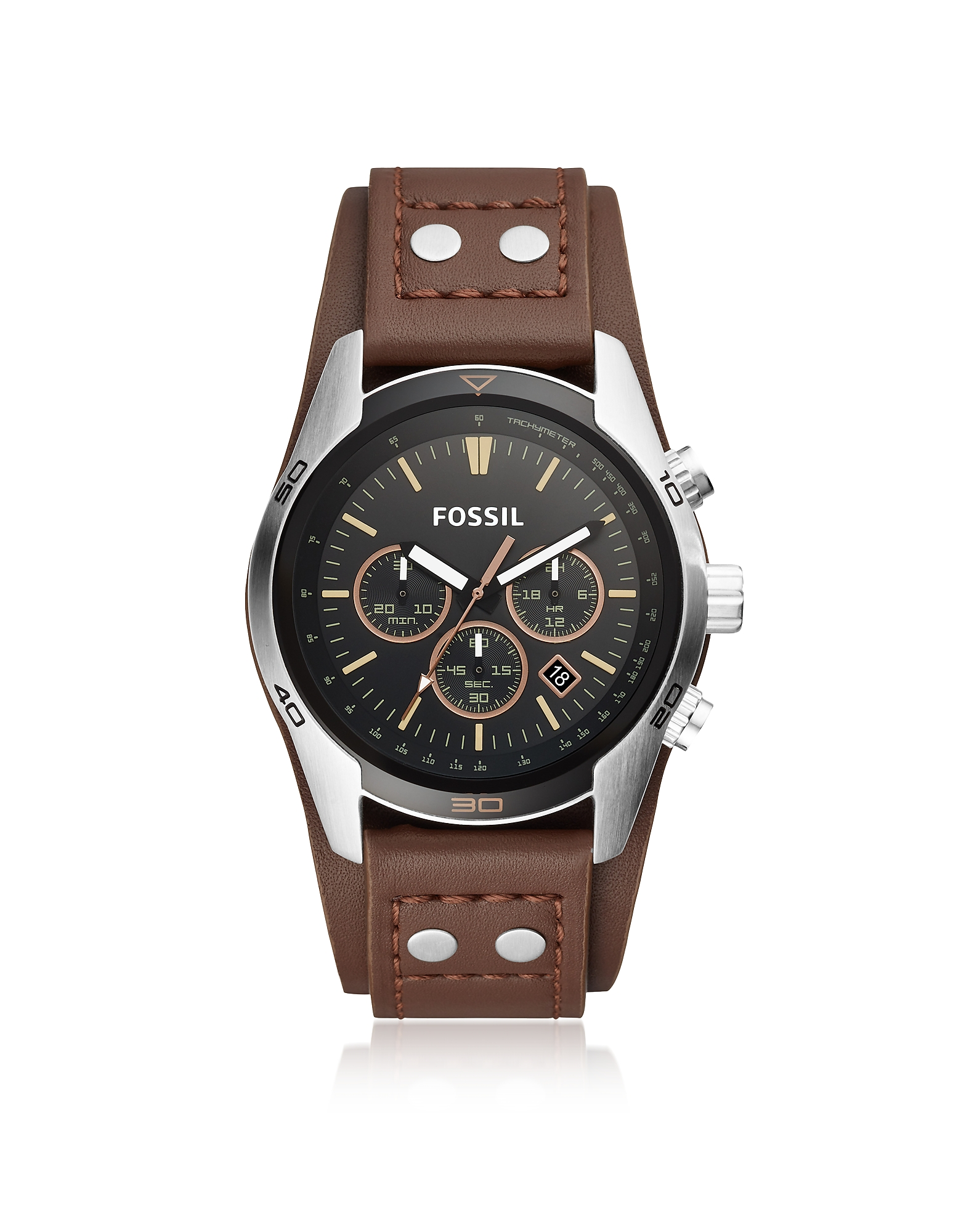 Fossil Men's Watches, Coachman Chronograph Brown Leather Men's Watch