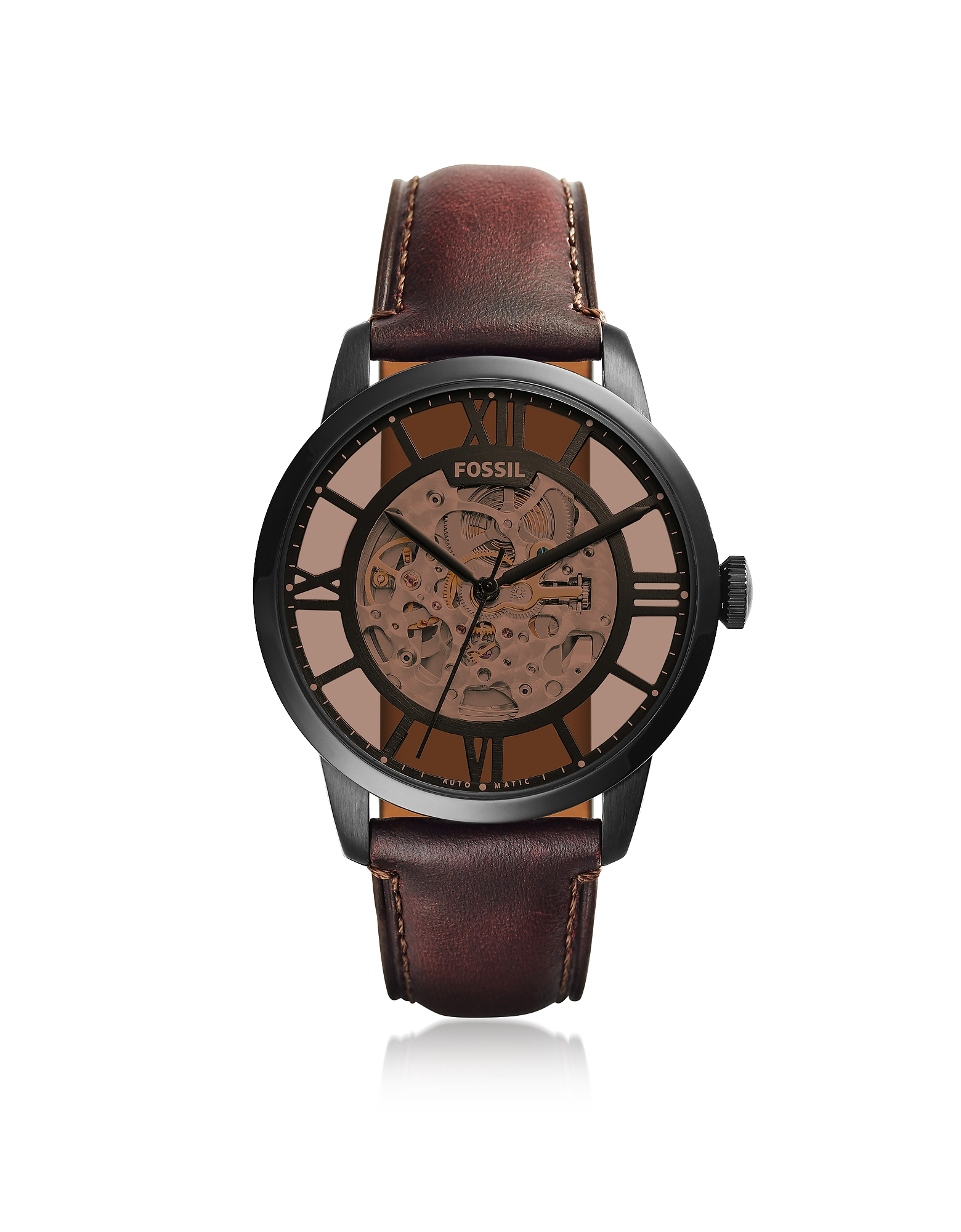 Fossil Men's Watches, Townsman Automatic Dark Brown Leather Men's Watch