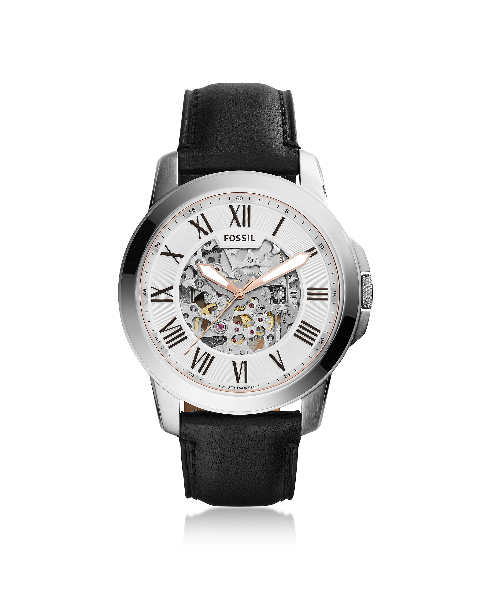 Fossil Men's Watches, Grant Automatic Black Leather Men's Watch