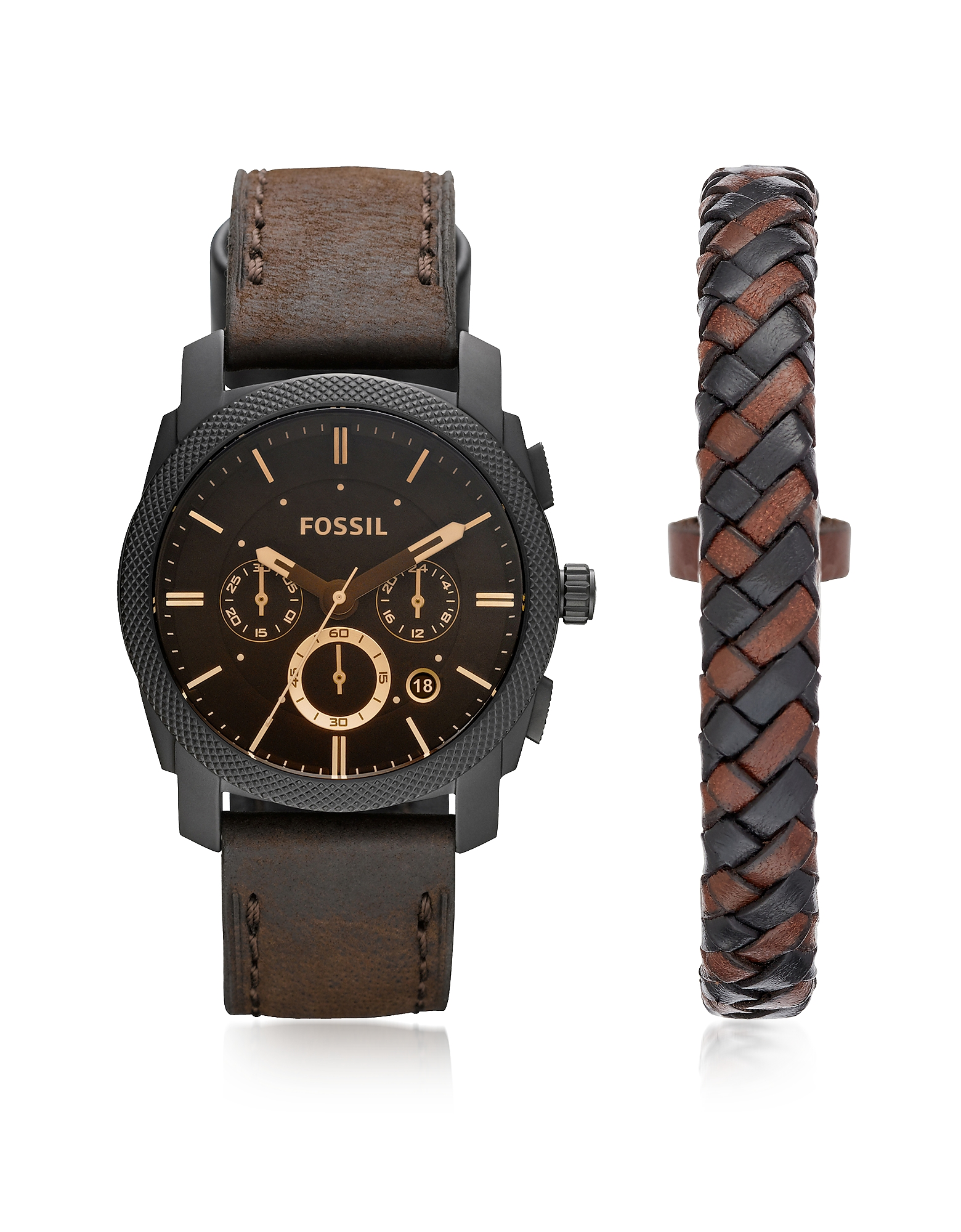 Fossil Men's Watches, Machine Chronograph Dark Brown Leather Men's Watch and Bracelet Box Set