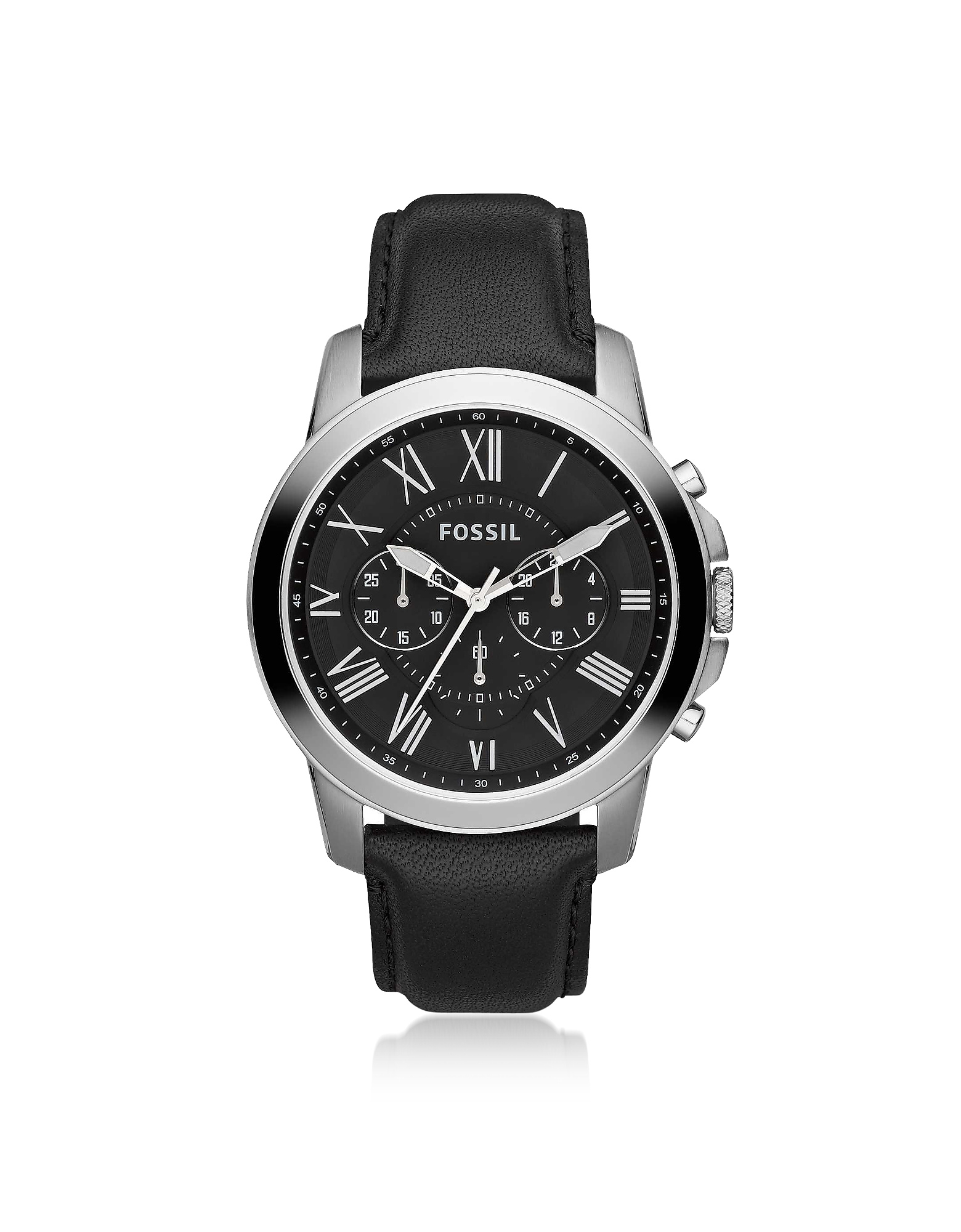 Fossil Men's Watches, Grant Chronograph Black Leather Men's Watch