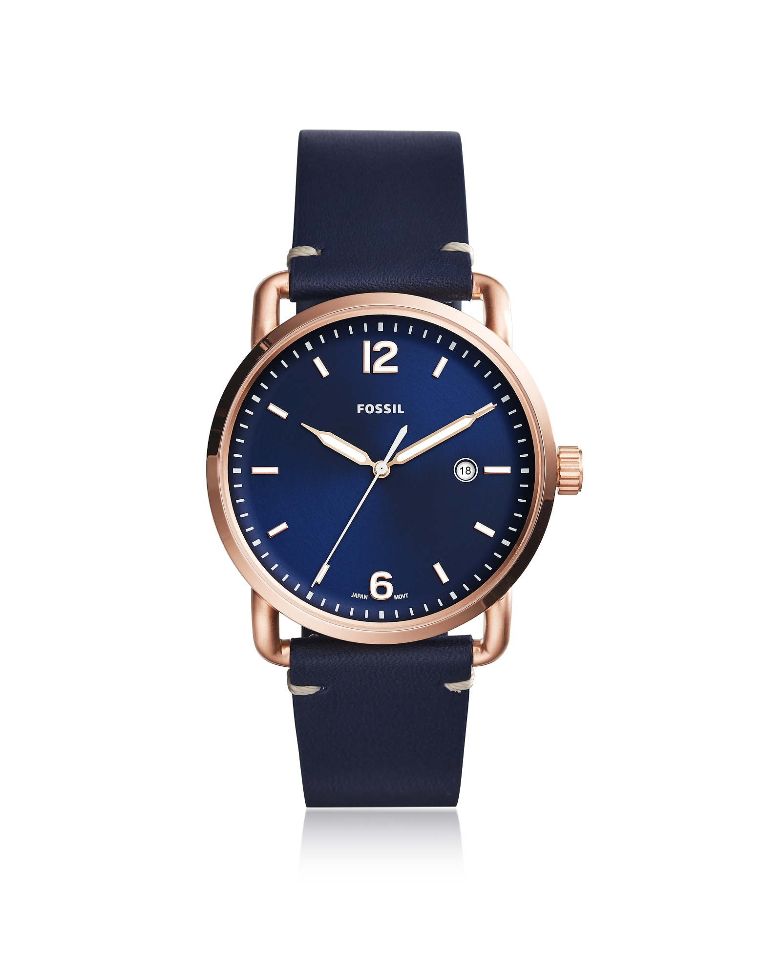 The Commuter Three-Hand Date Blue Leather Men's Watch