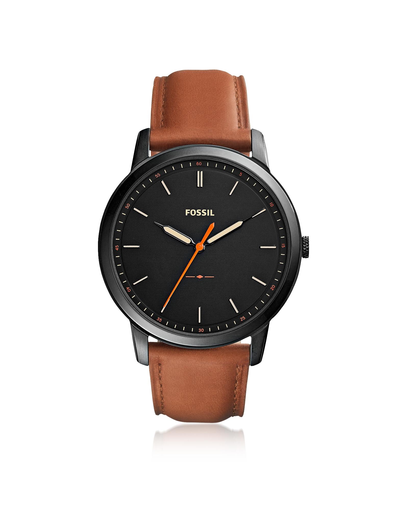The Minimalist Slim Three-Hand Light Brown Leather Men's Watch, Black