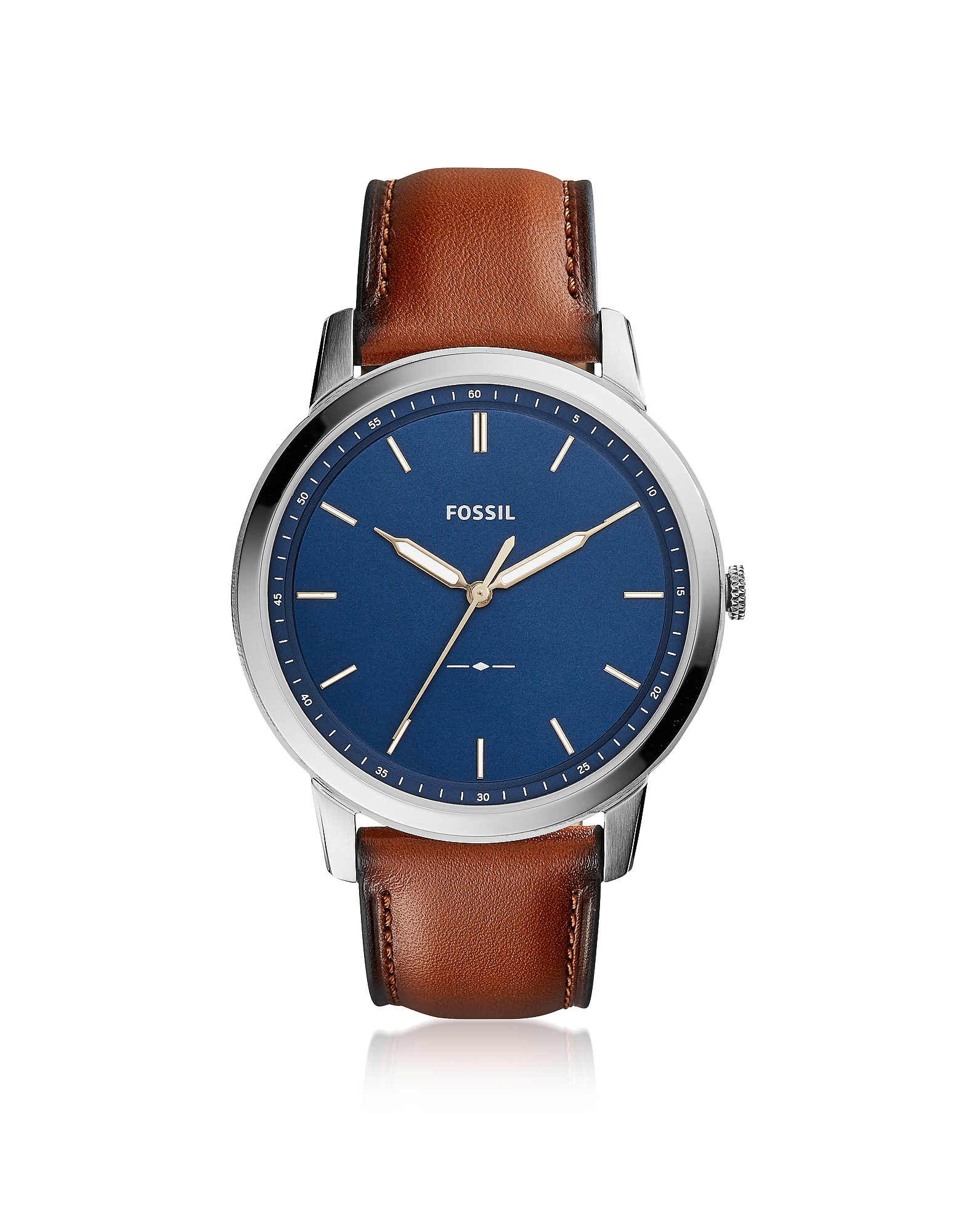 Fossil Men's Watches, The Minimalist Slim Three-Hand Light Brown Leather and Blue Dial Men's Watch