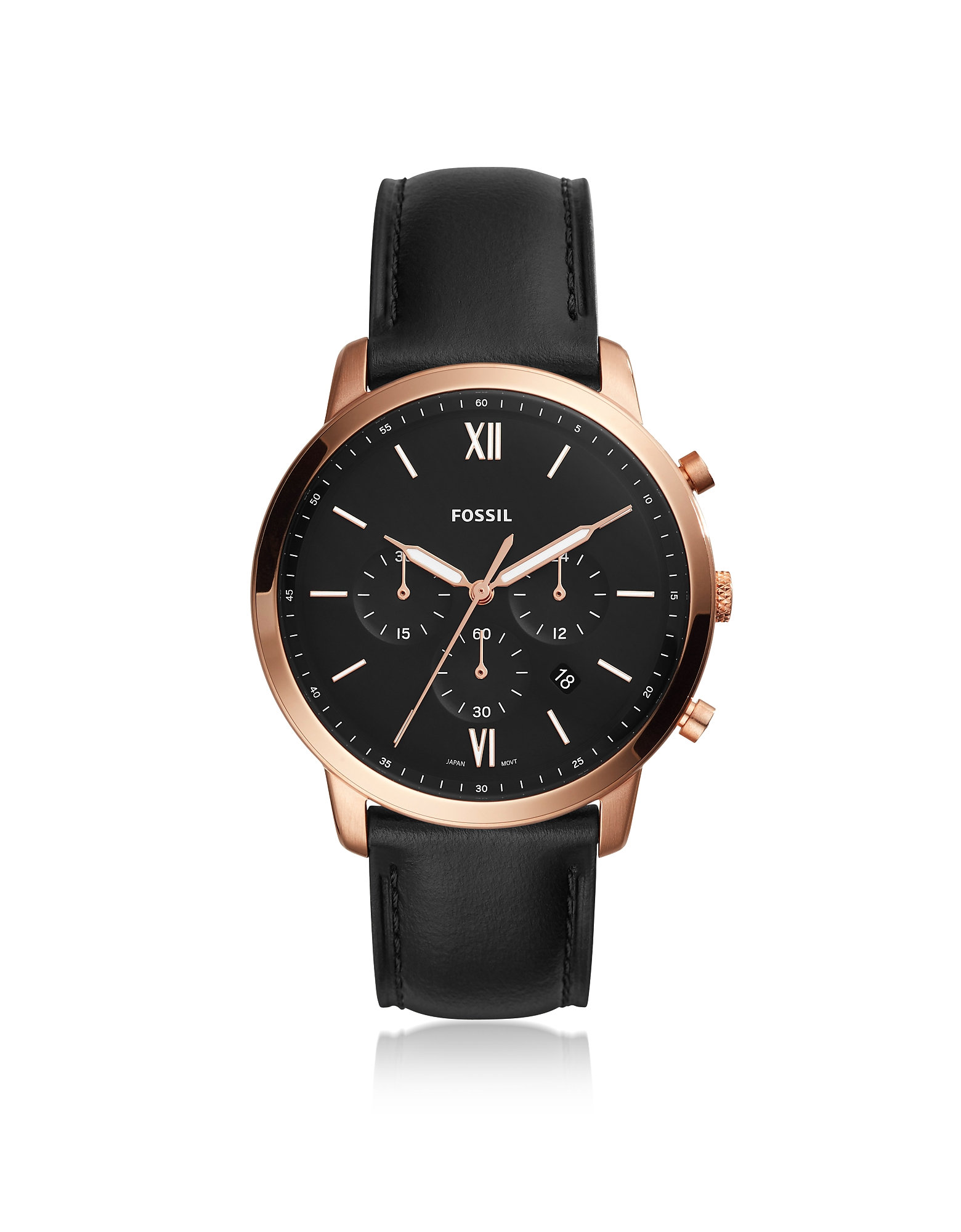 Neutra Chronograph Black Leather and Rose Gold Men's Watch