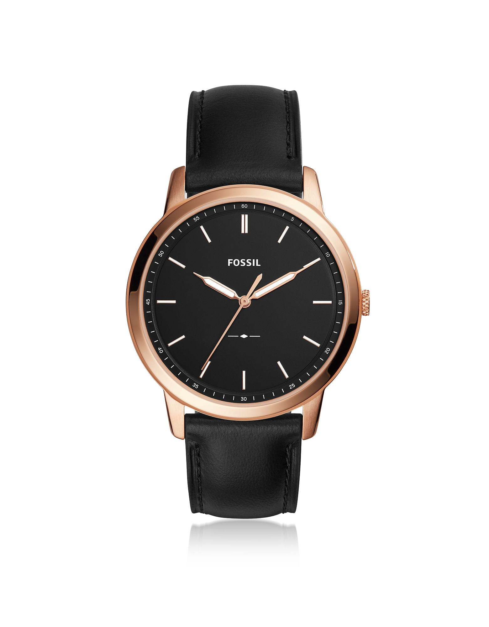 The Minimalist Slim Three-Hand Black Leather Men's Watch