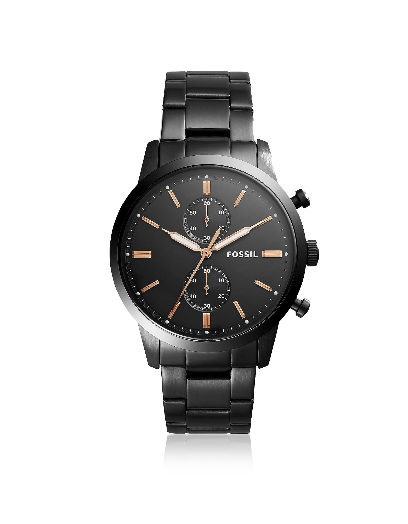 Townsman 44mm Chronograph Black Stainless Steel Men's Watch