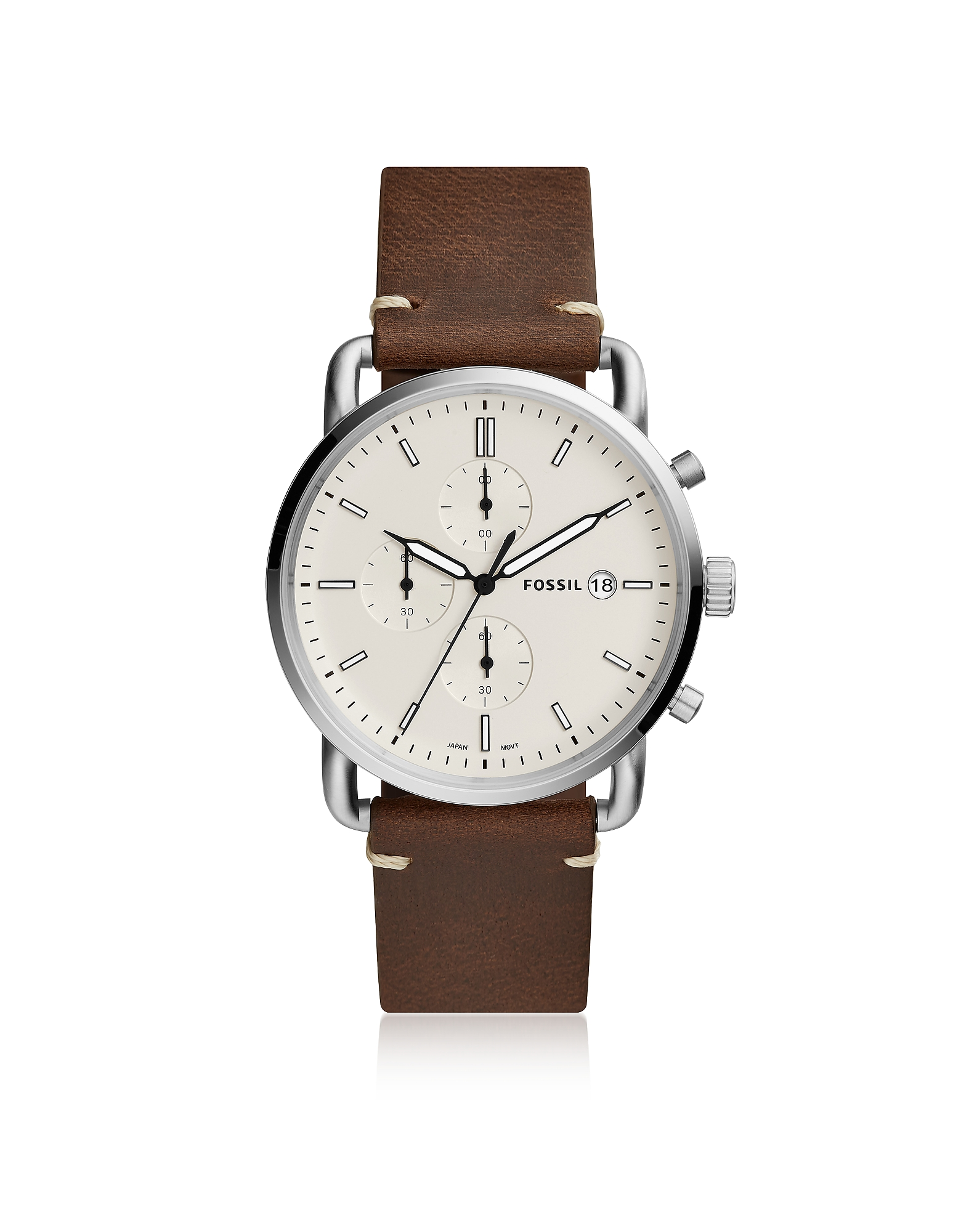 Fossil Men's Watches, The Commuter Chronograph Brown Leather and Cream Dial Men's Watch