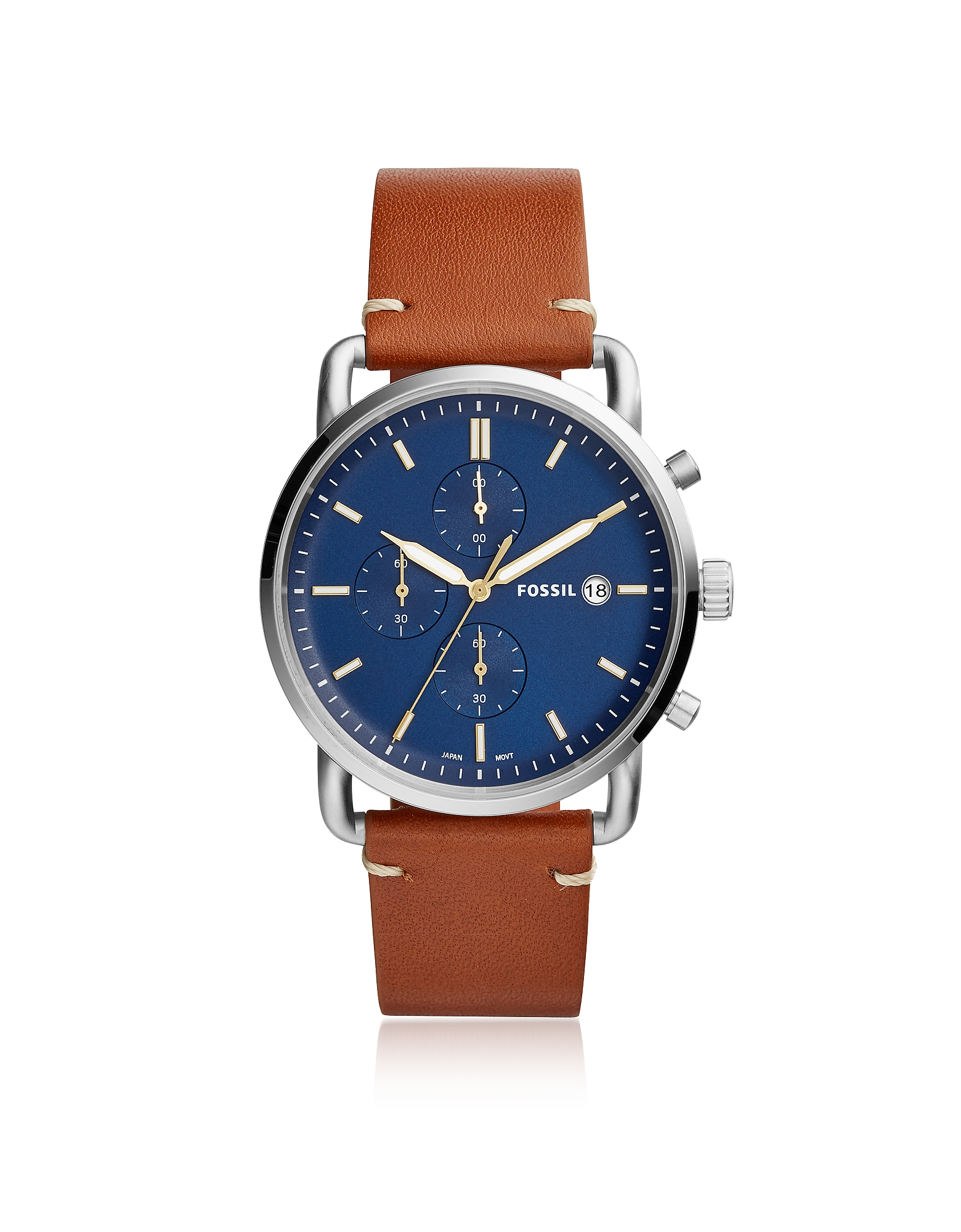 The Commuter Chronograph Light Brown Leather Watch Fossil