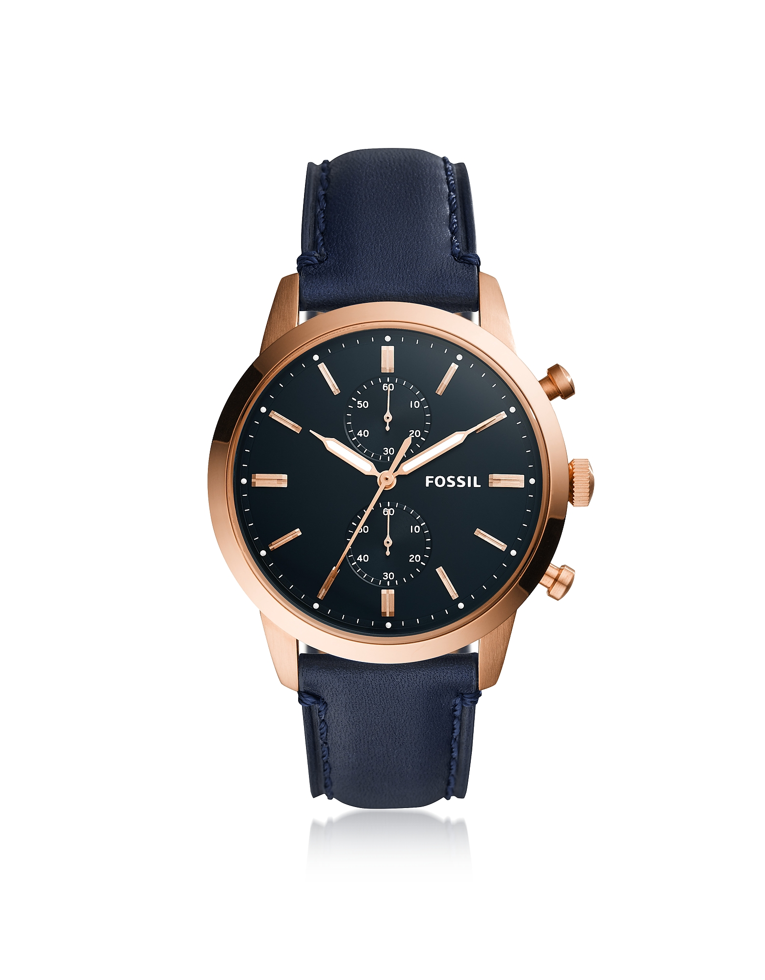 Townsman 44mm Chronograph Navy Leather and Rose Gold Men's Watch