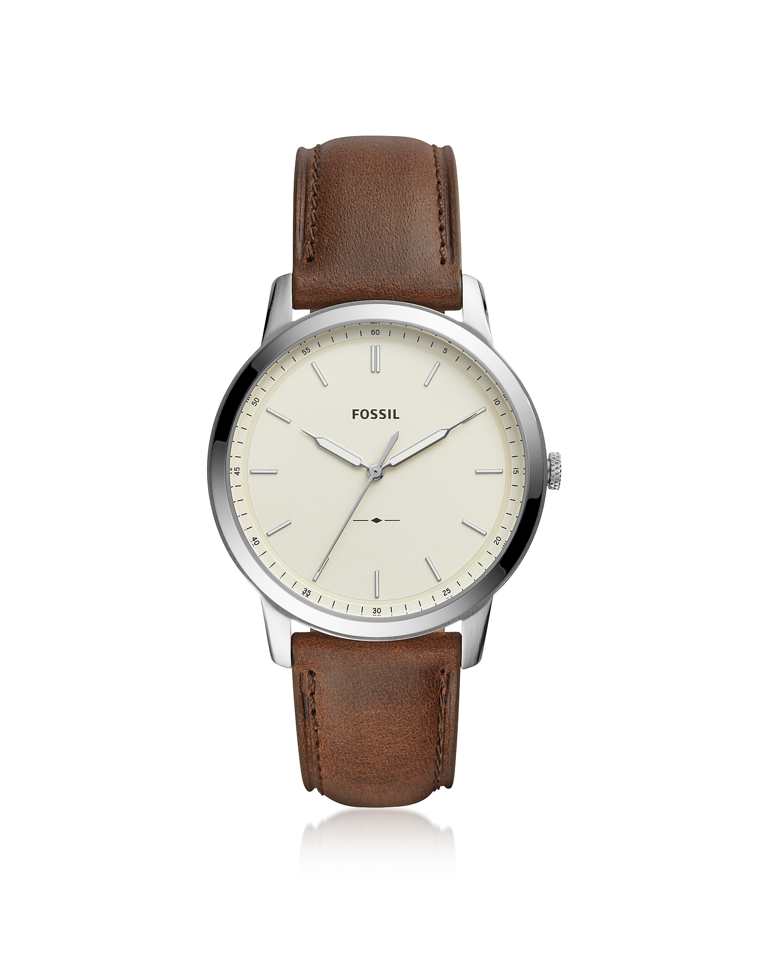The Minimalist Three-Hand Brown Leather and Cream Dial Men's Watch