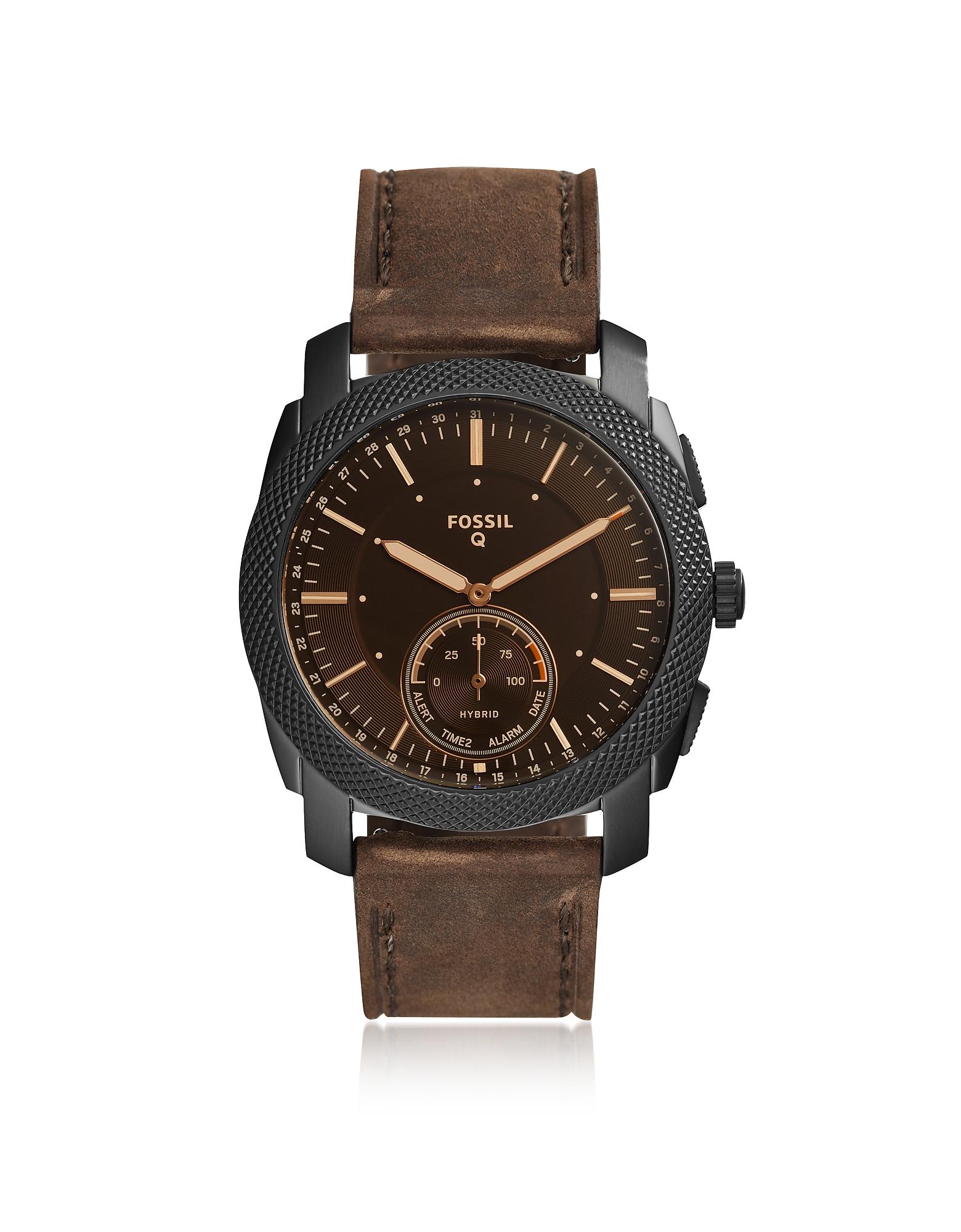 Fossil Men's Watches, Q Machine Dark Brown Leather Men's Hybrid Smartwatch