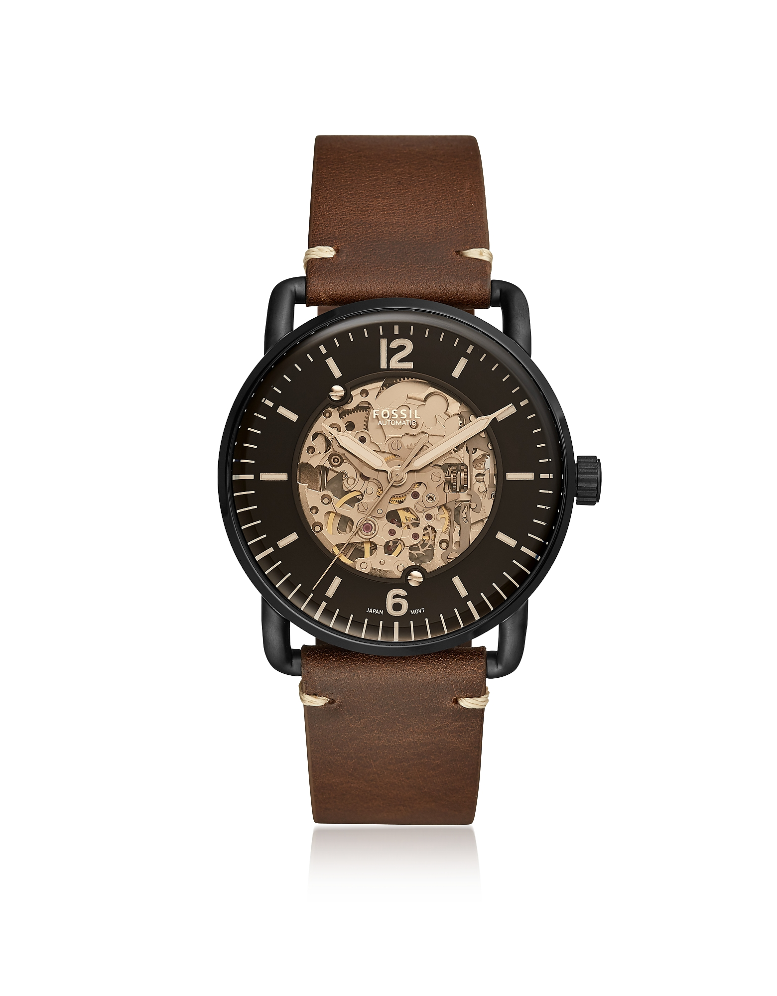 Fossil Men's Watches, Commuter Automatic Brown Leather Men's Watch