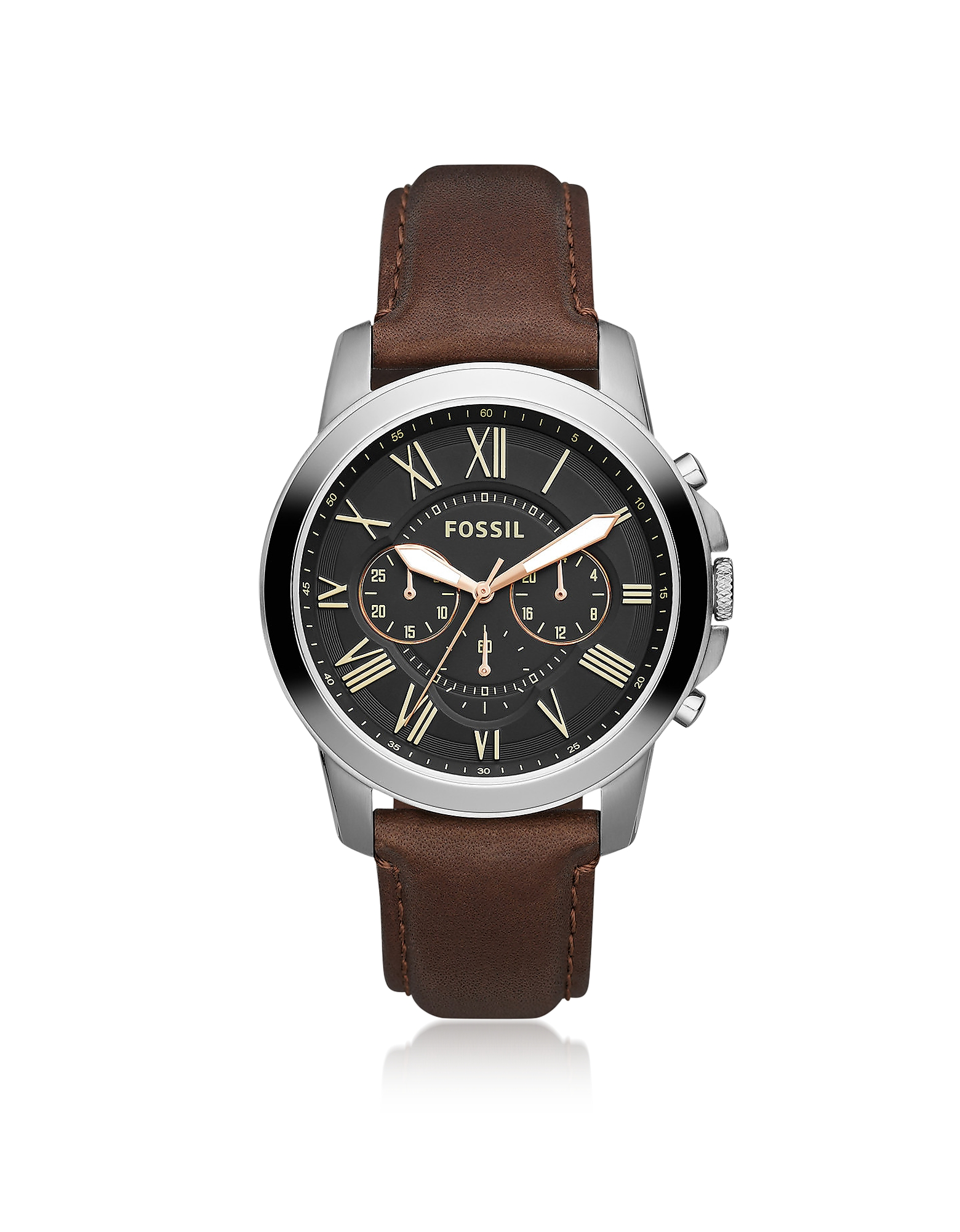 Fossil Men's Watches, Grant Chronograph Black/Brown Leather Watch