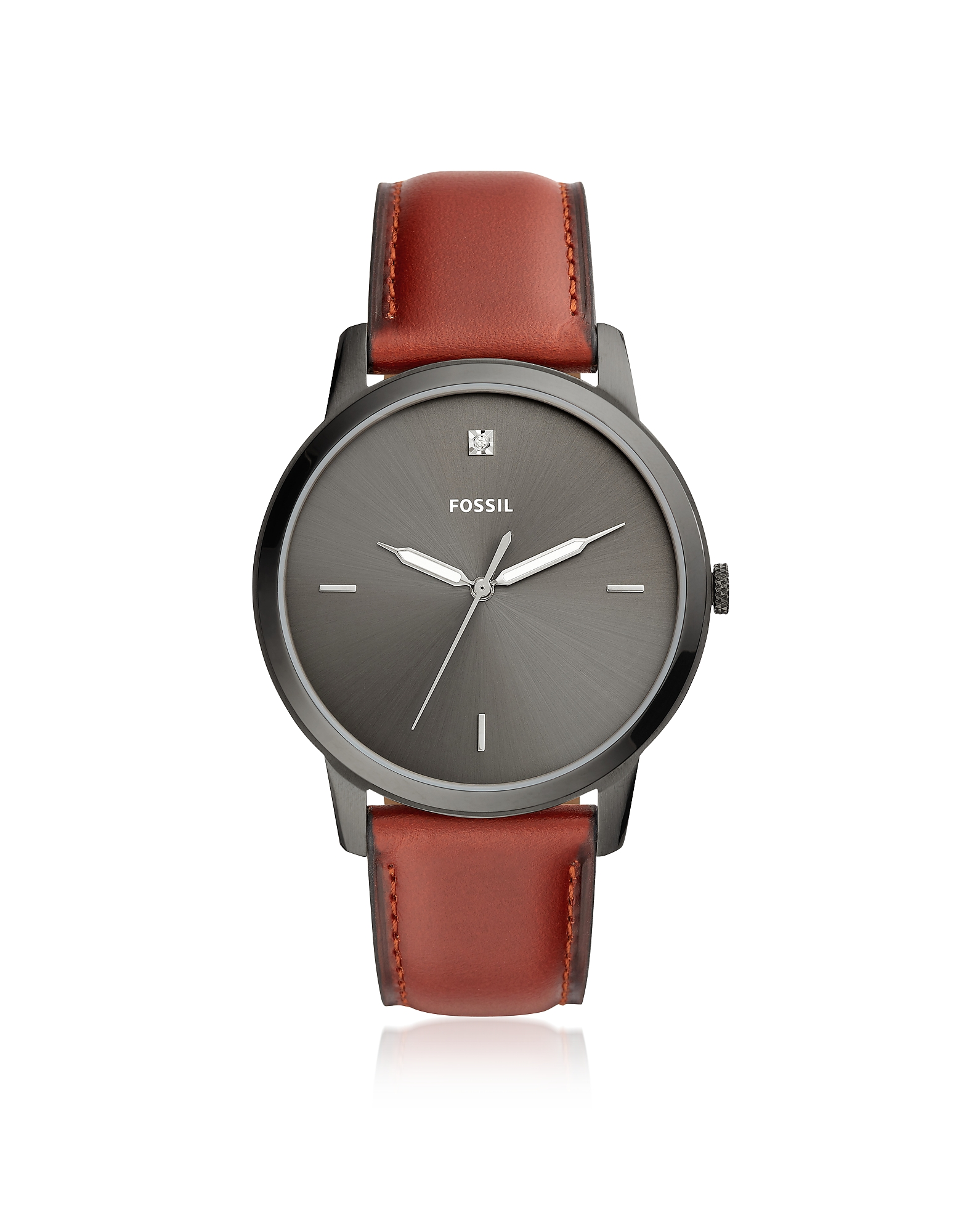 Fossil Men's Watches, The Minimalist Carbon Series Three-Hand Smokey Amber Leather Watch