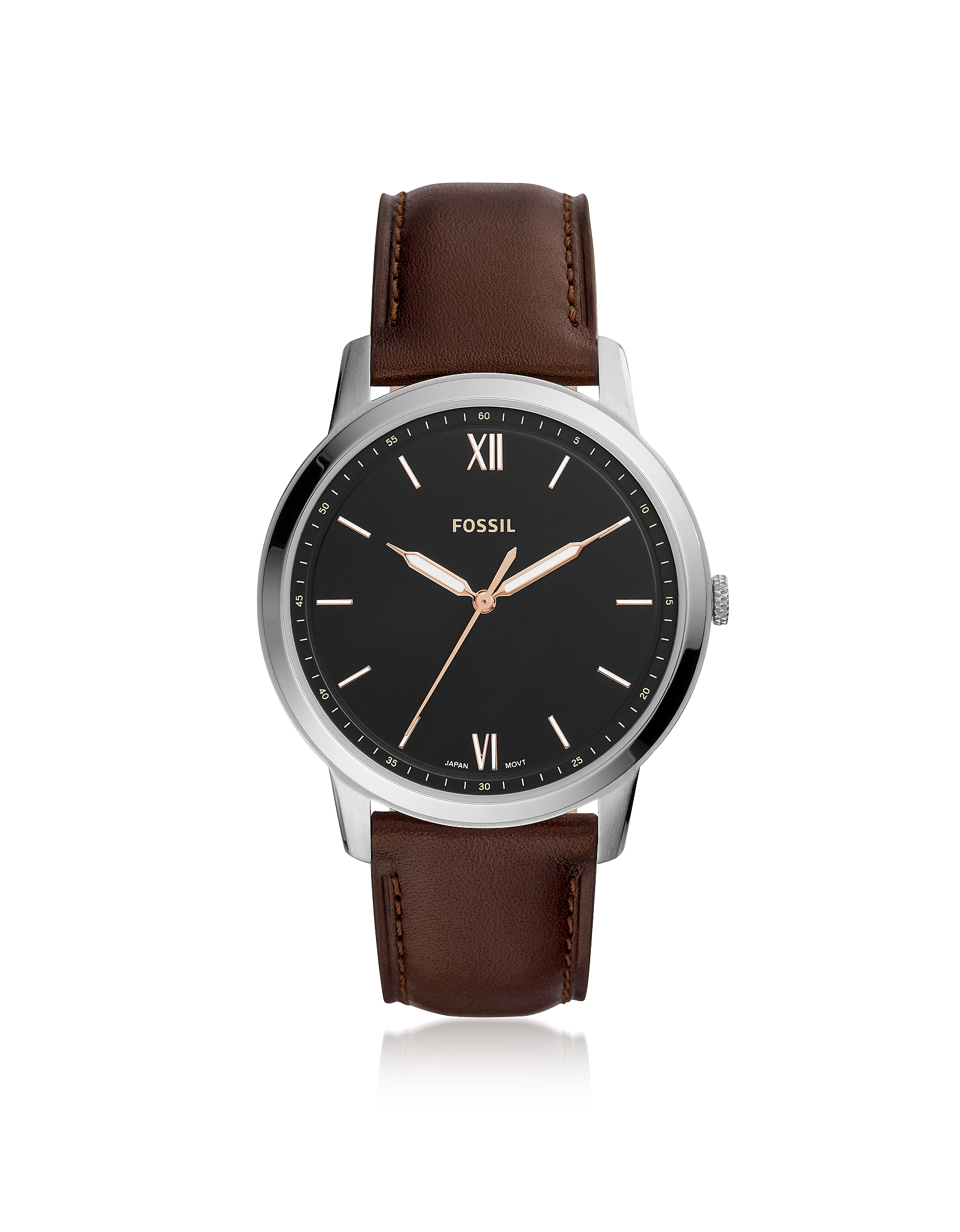Fossil Men's Watches, The Minimalist Three-Hand Brown Leather Watch