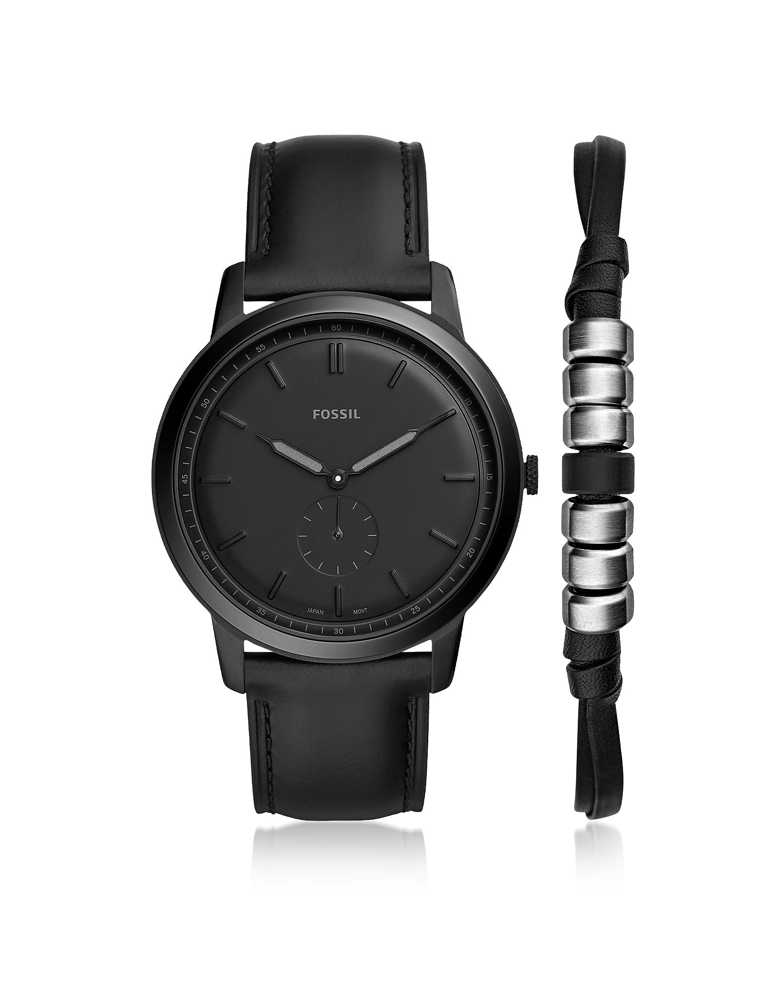 The Minimalist Two-Hand Black Leather Watch Box Set