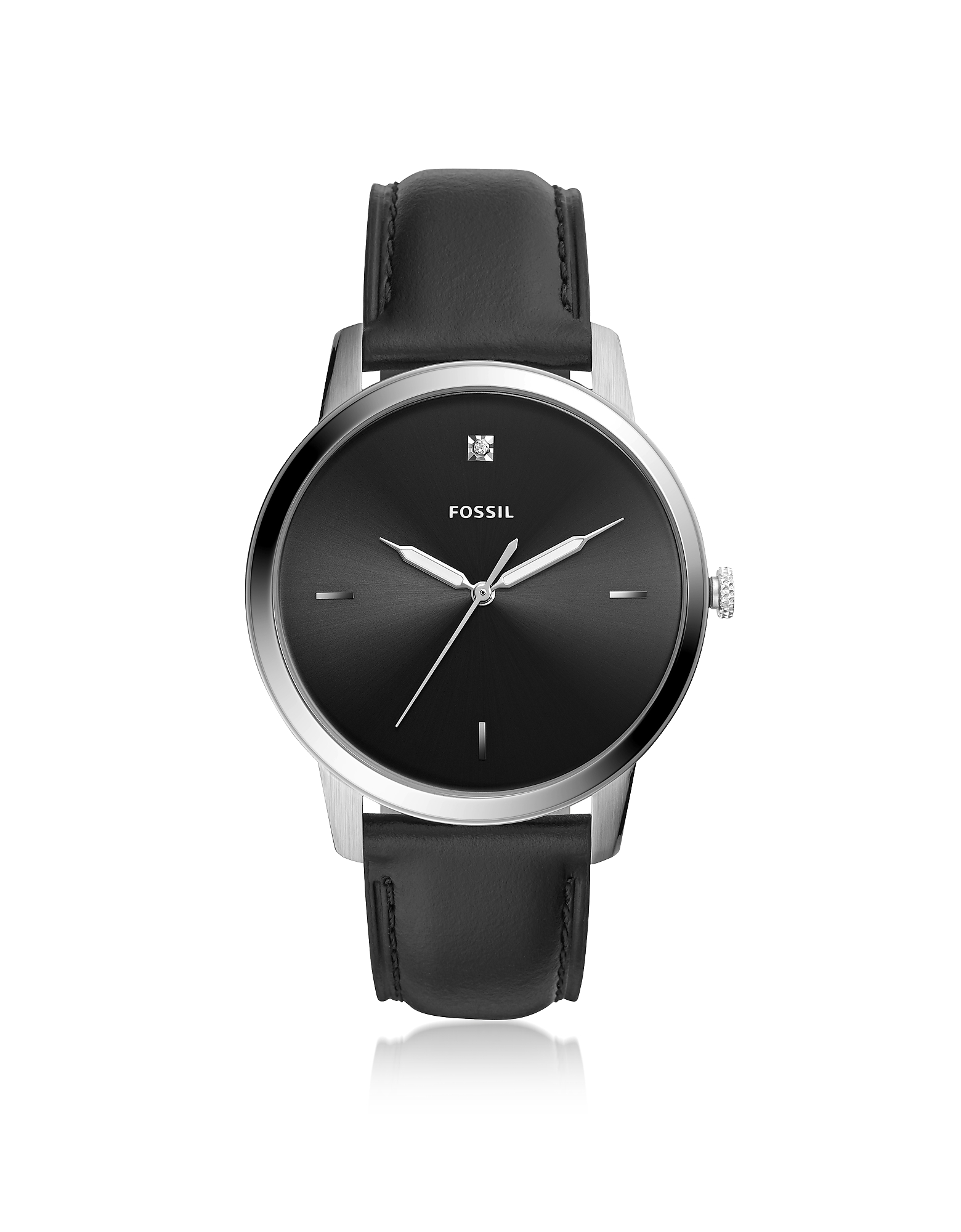 The Minimalist Carbon Series Three-Hand Black Leather Watch