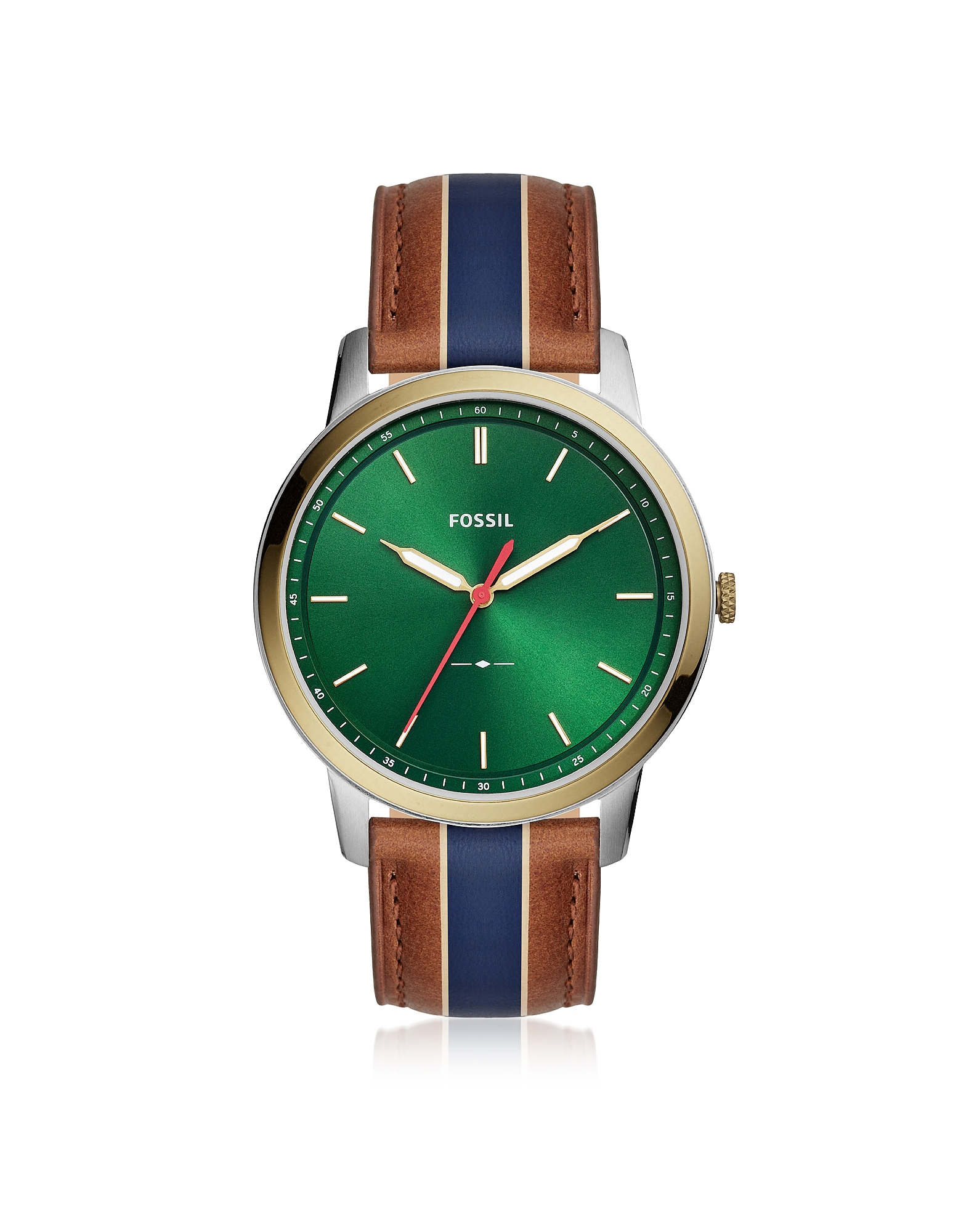 The Minimalist Three-Hand Striped Tan Leather Watch